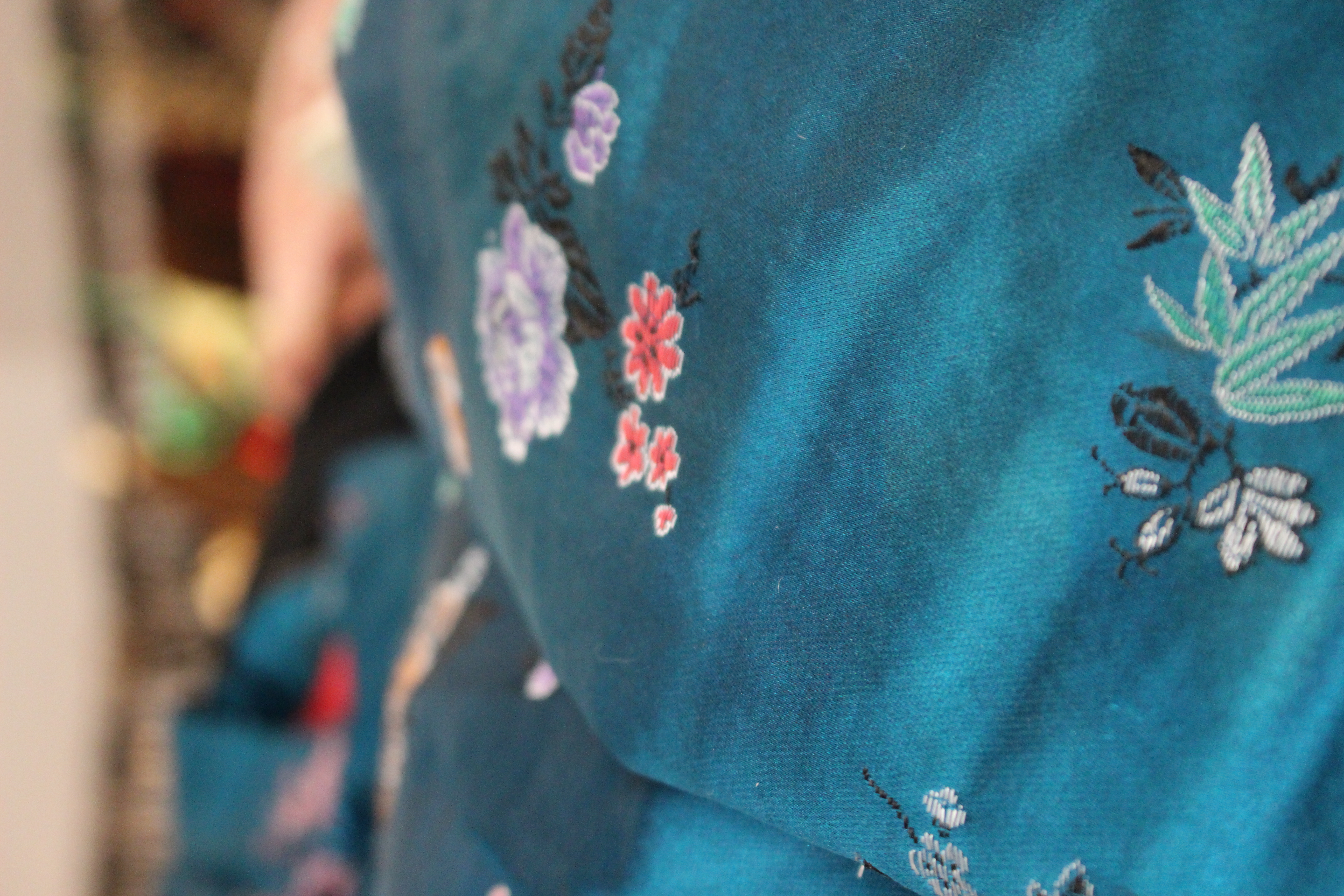 Blue Chinese silk top