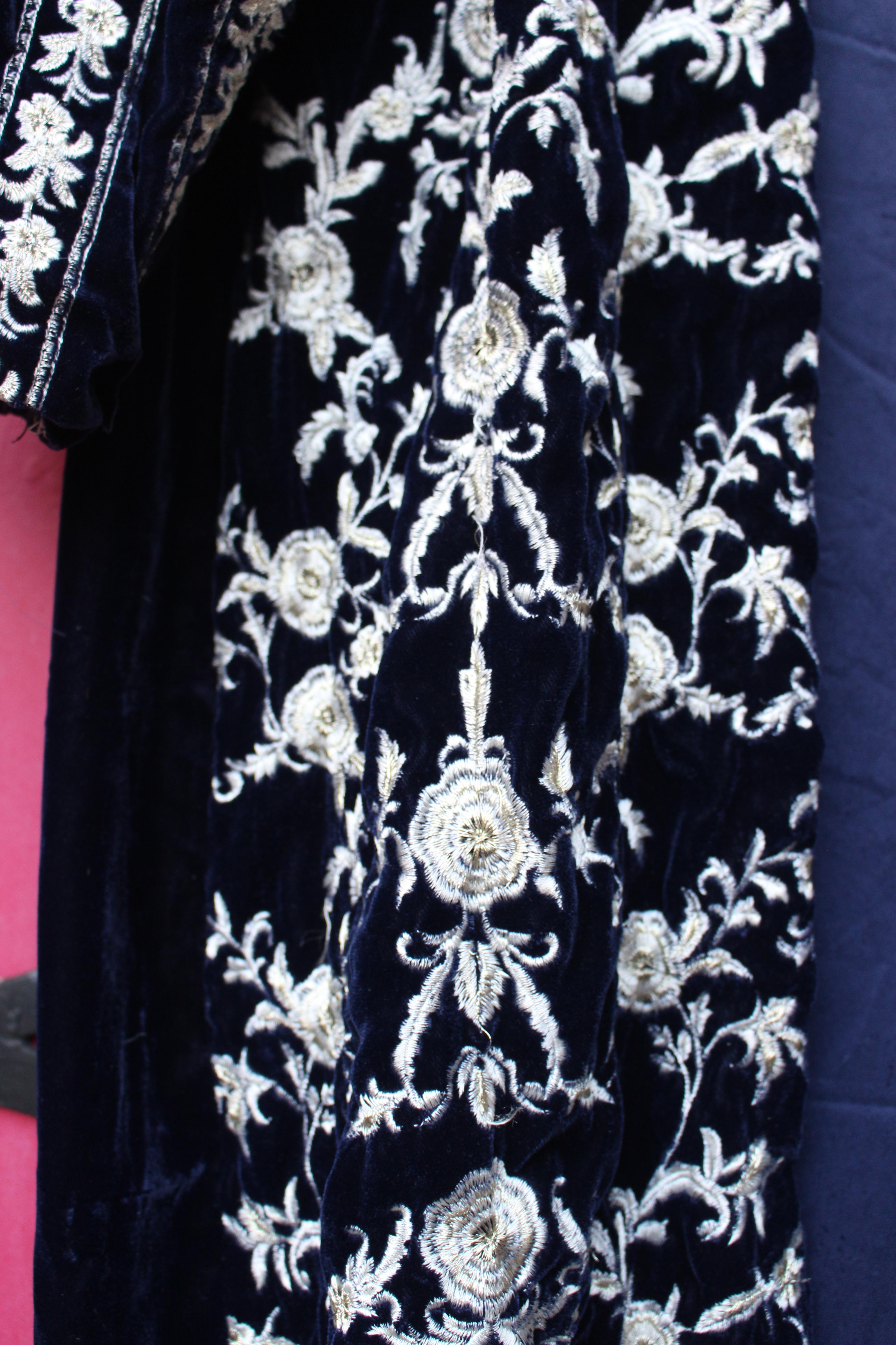Dark blue embroidered velvet coat, from Unicorn, 5 Ship Street, Oxford