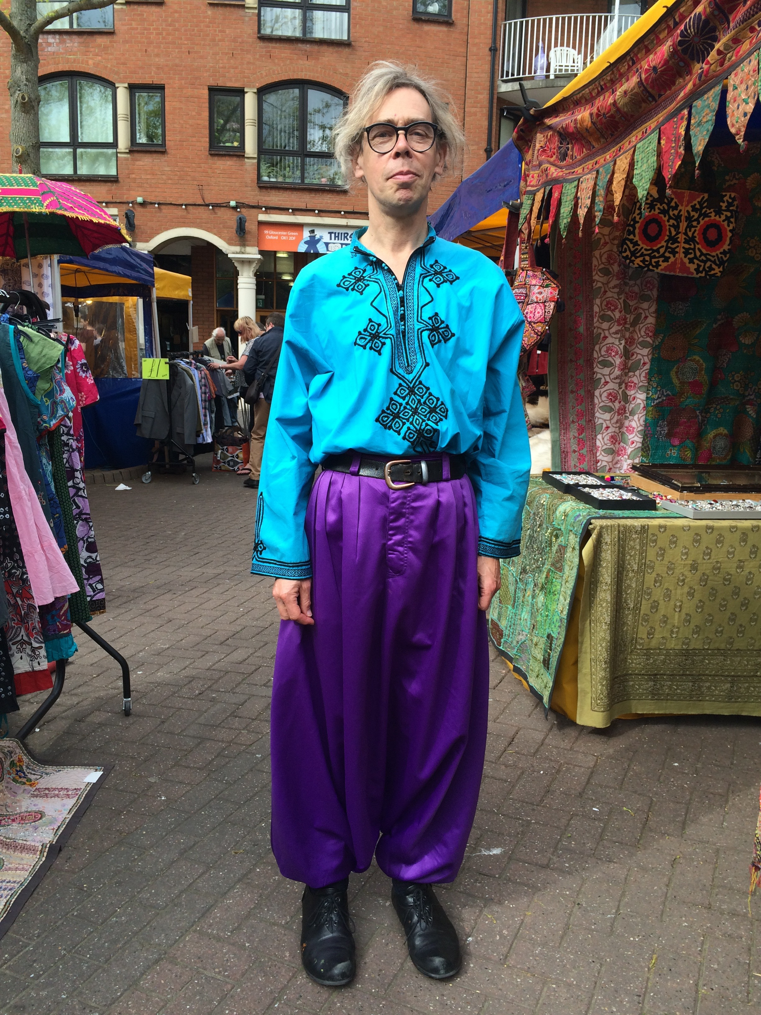 Turquoise Moroccan shirt and purple satin Moroccan sarouel (worn at Gloucester Green Market, Oxford)