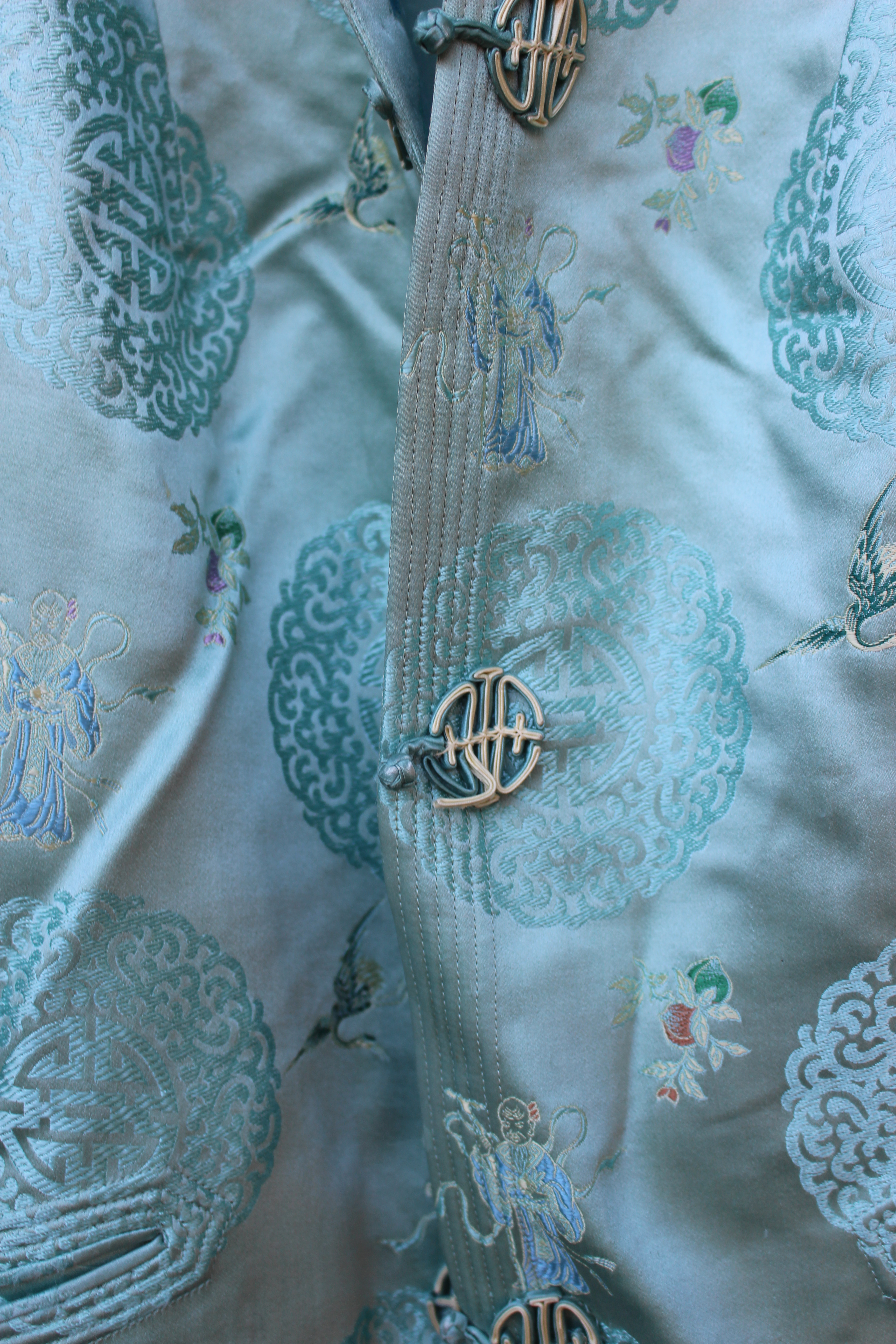 Green embroidered silk Chinese top