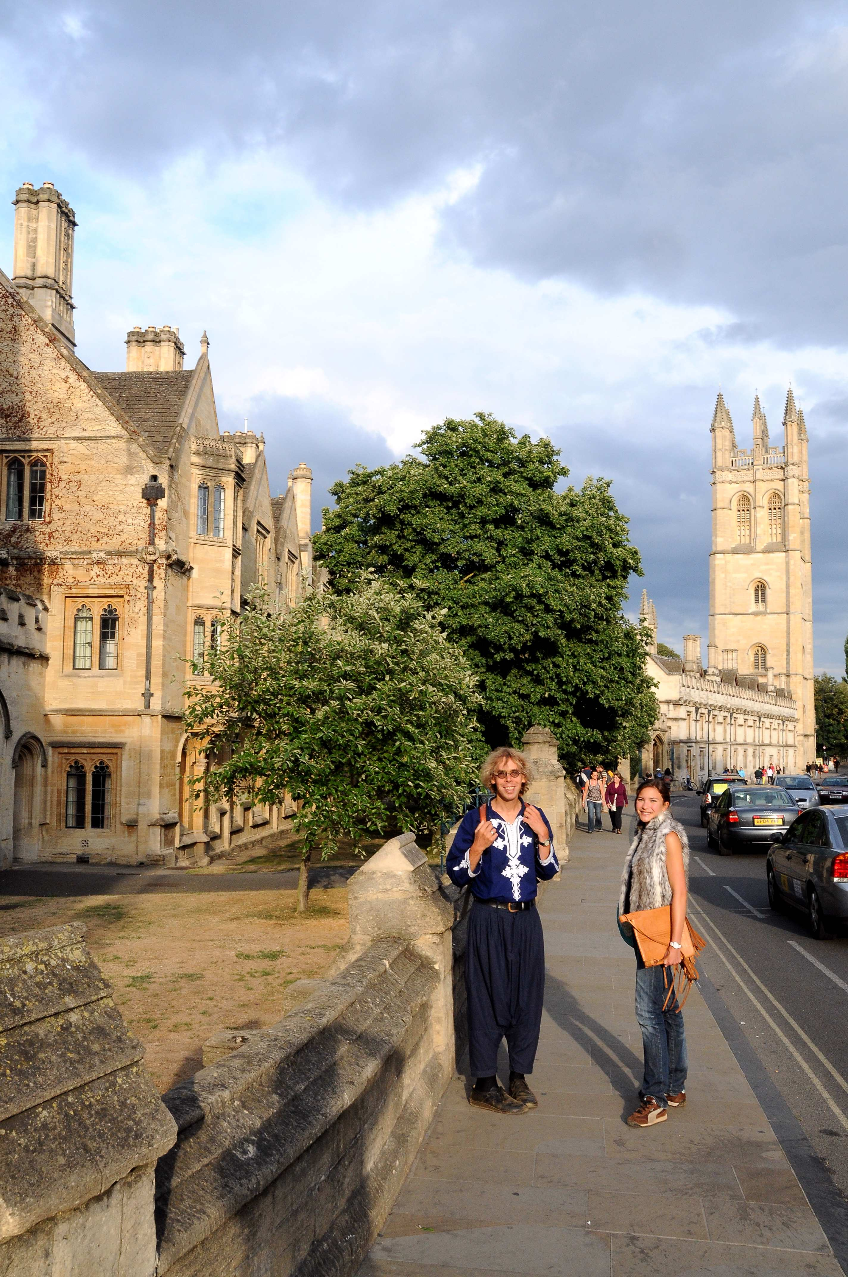 Dark blue Moroccan shirt with white embroidery (worn in Oxford High Street near Magdalen Bridge)