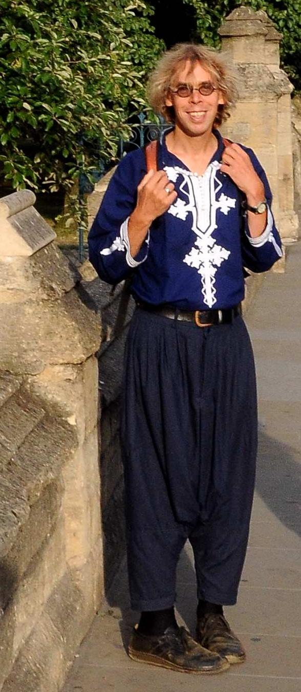 Dark blue Moroccan shirt with white embroidery (worn in Oxford High Street near Magdalen Bridge)