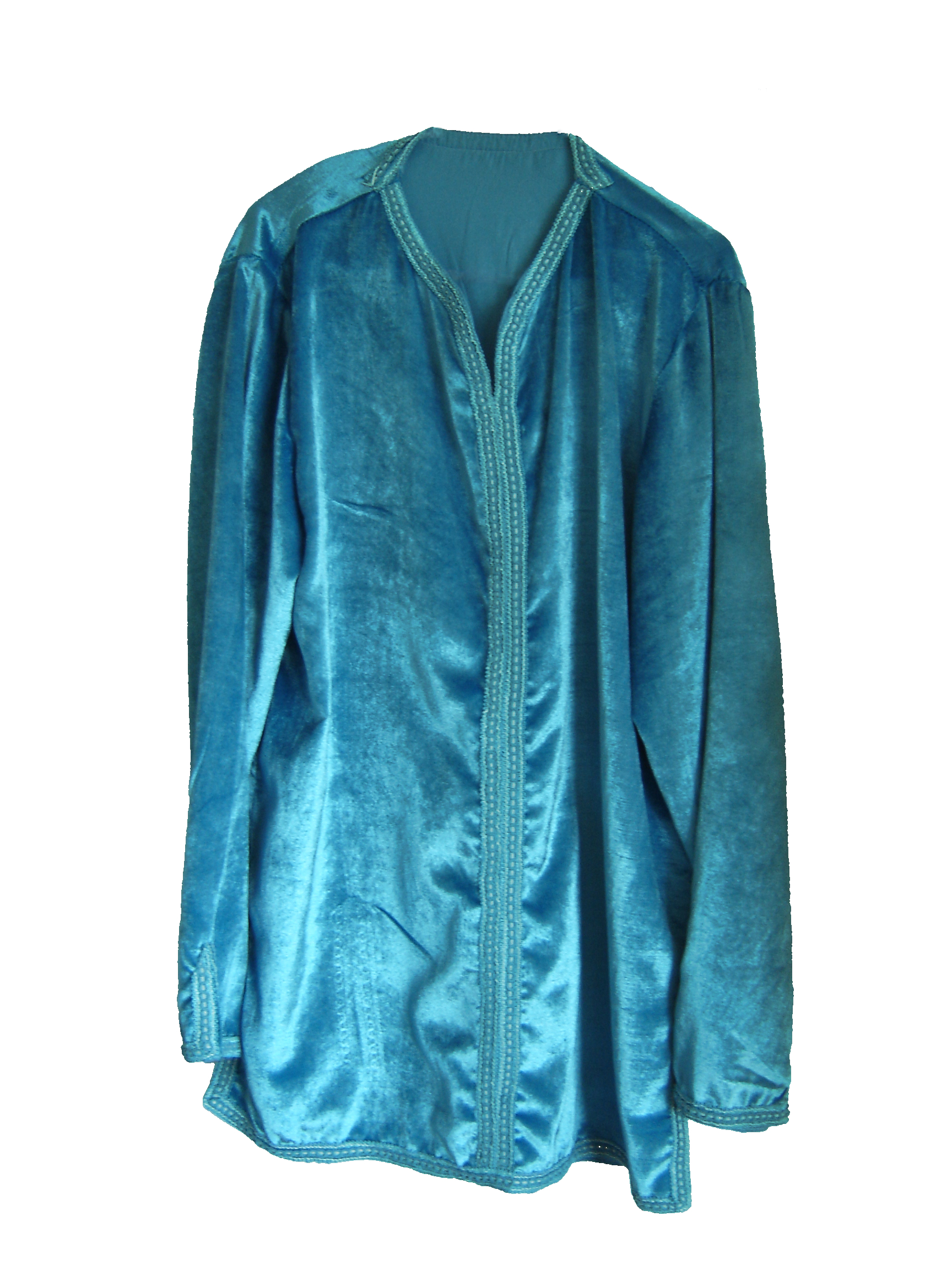 Ice blue velvet Moroccan shirt, from Fez, 71 Golborne Road, London