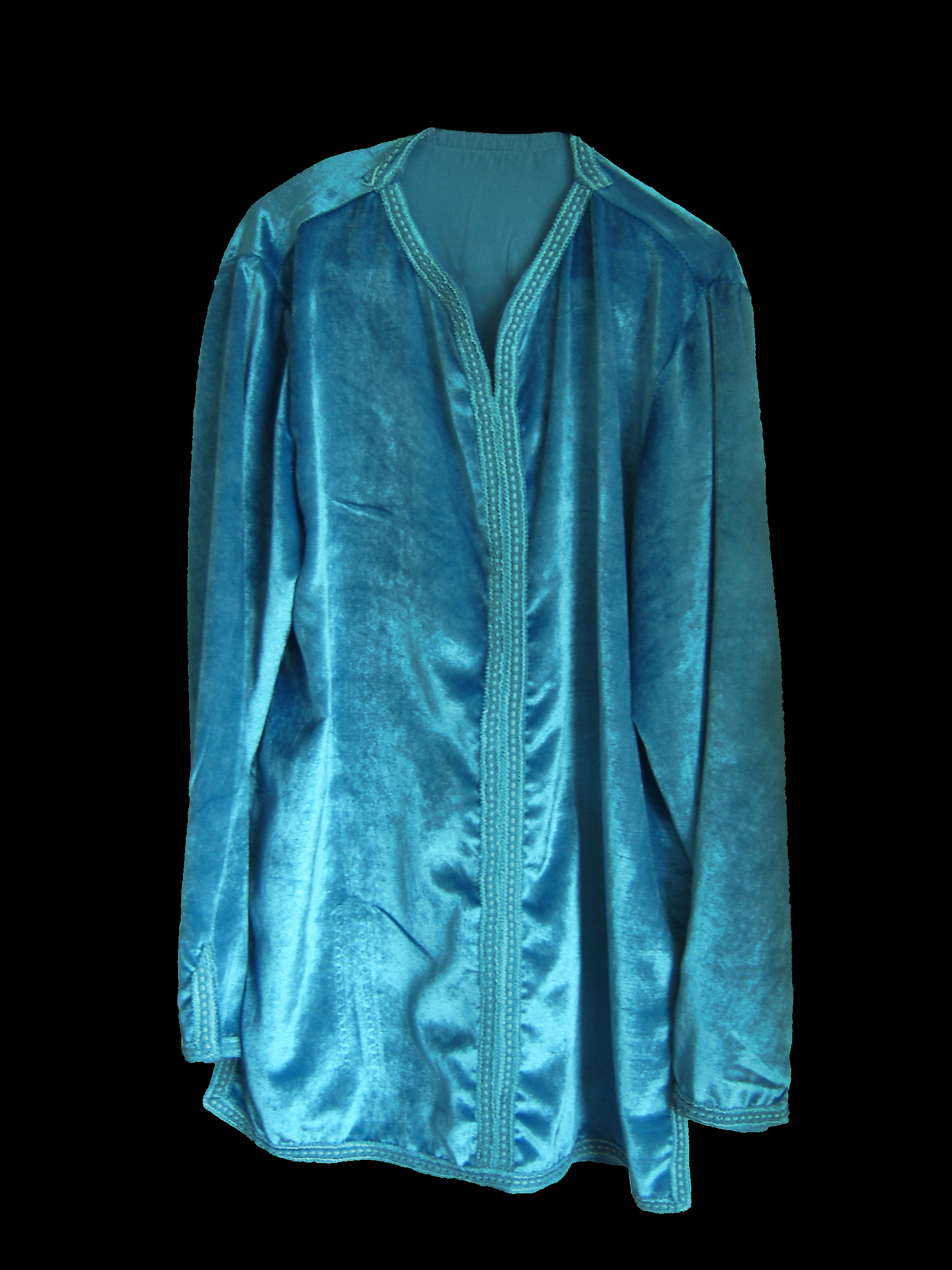 Ice-blue velvet Moroccan shirt