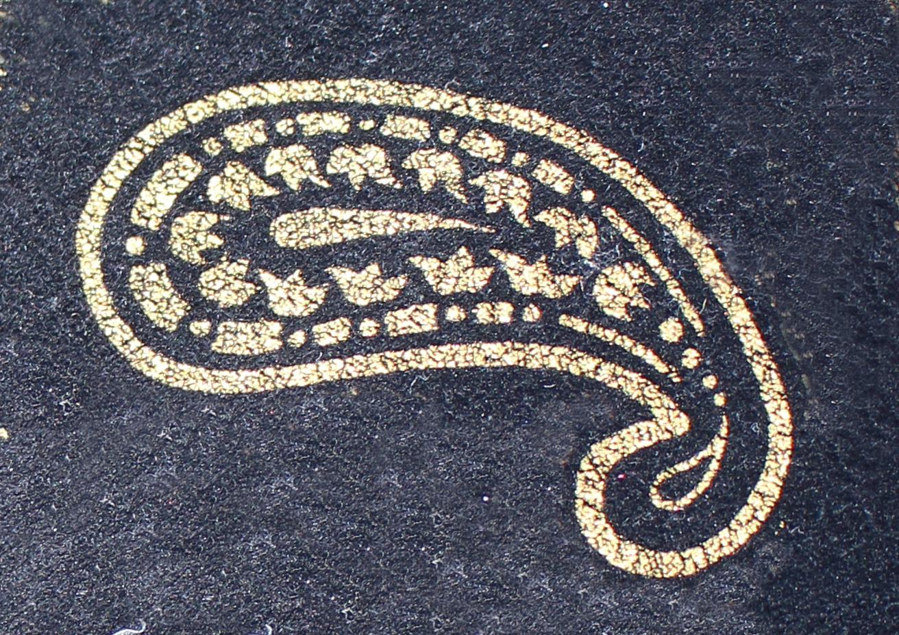 A single element from my Jake paisley velvet jacket. It is a gold teardrop-shaped motif on black. The small end is curved in on itself, bent down and to the left.