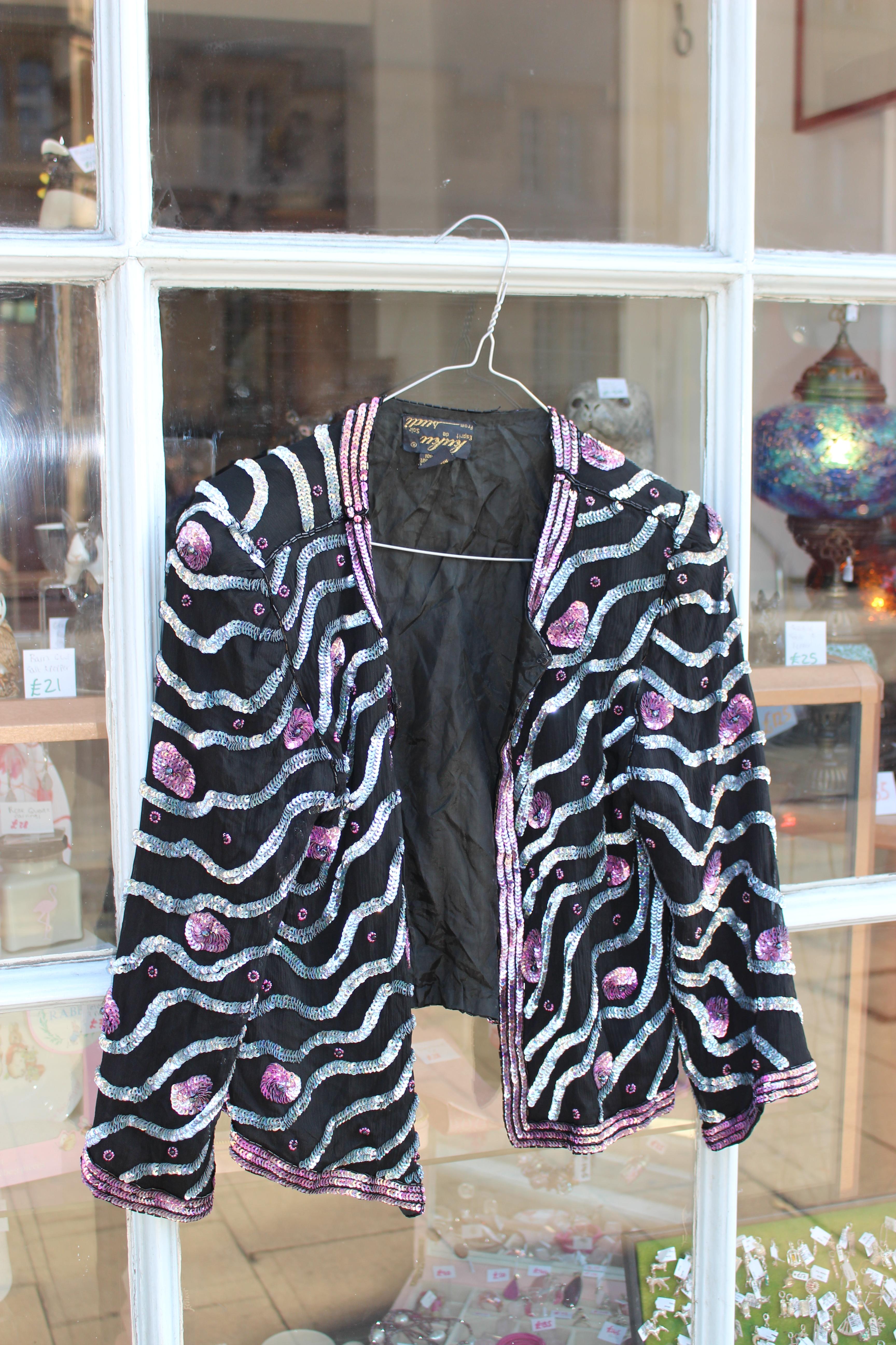 Kuku silver-stripe bolero jacket
