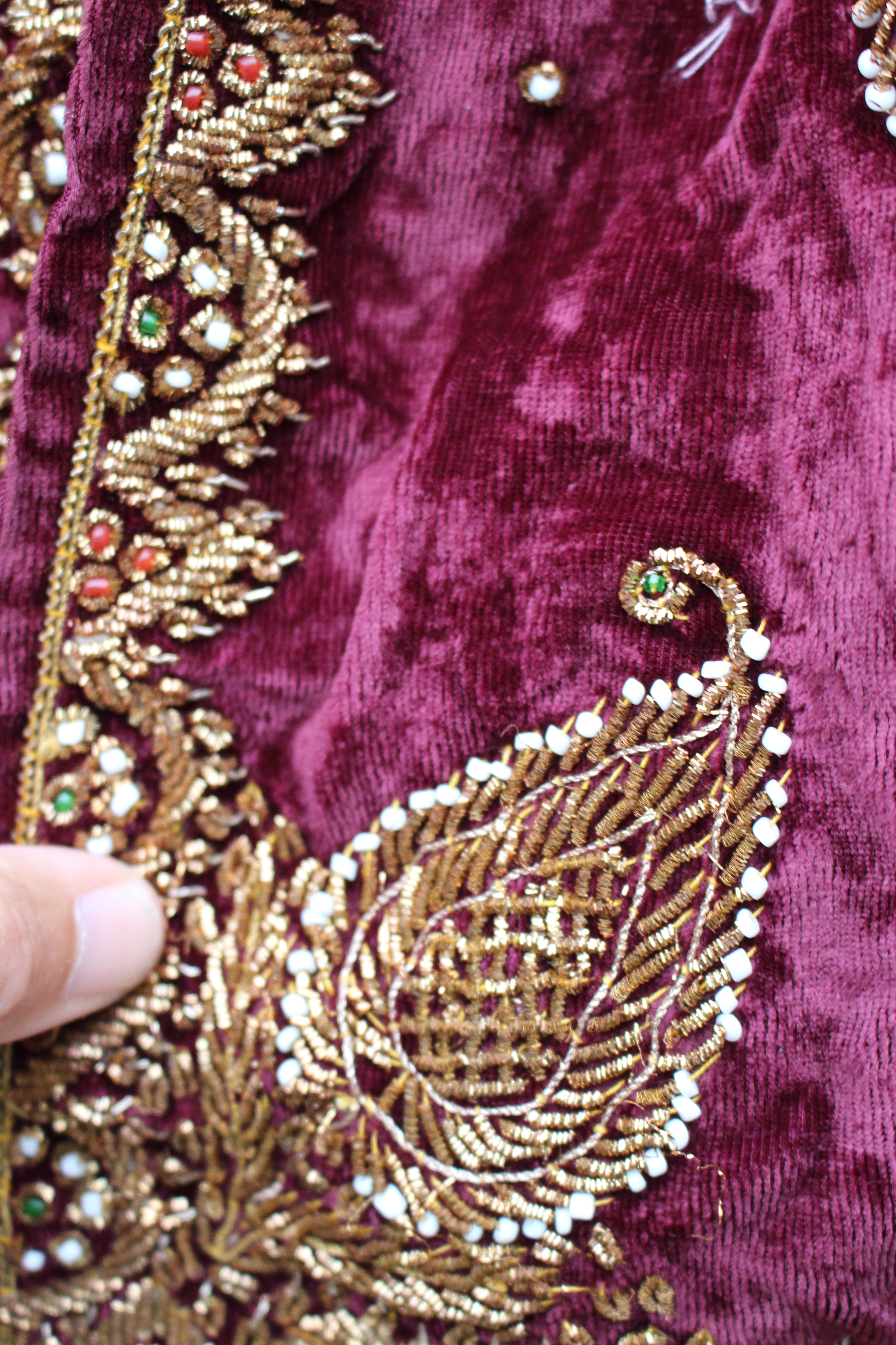 Maroon embroidered velvet Turkish cape