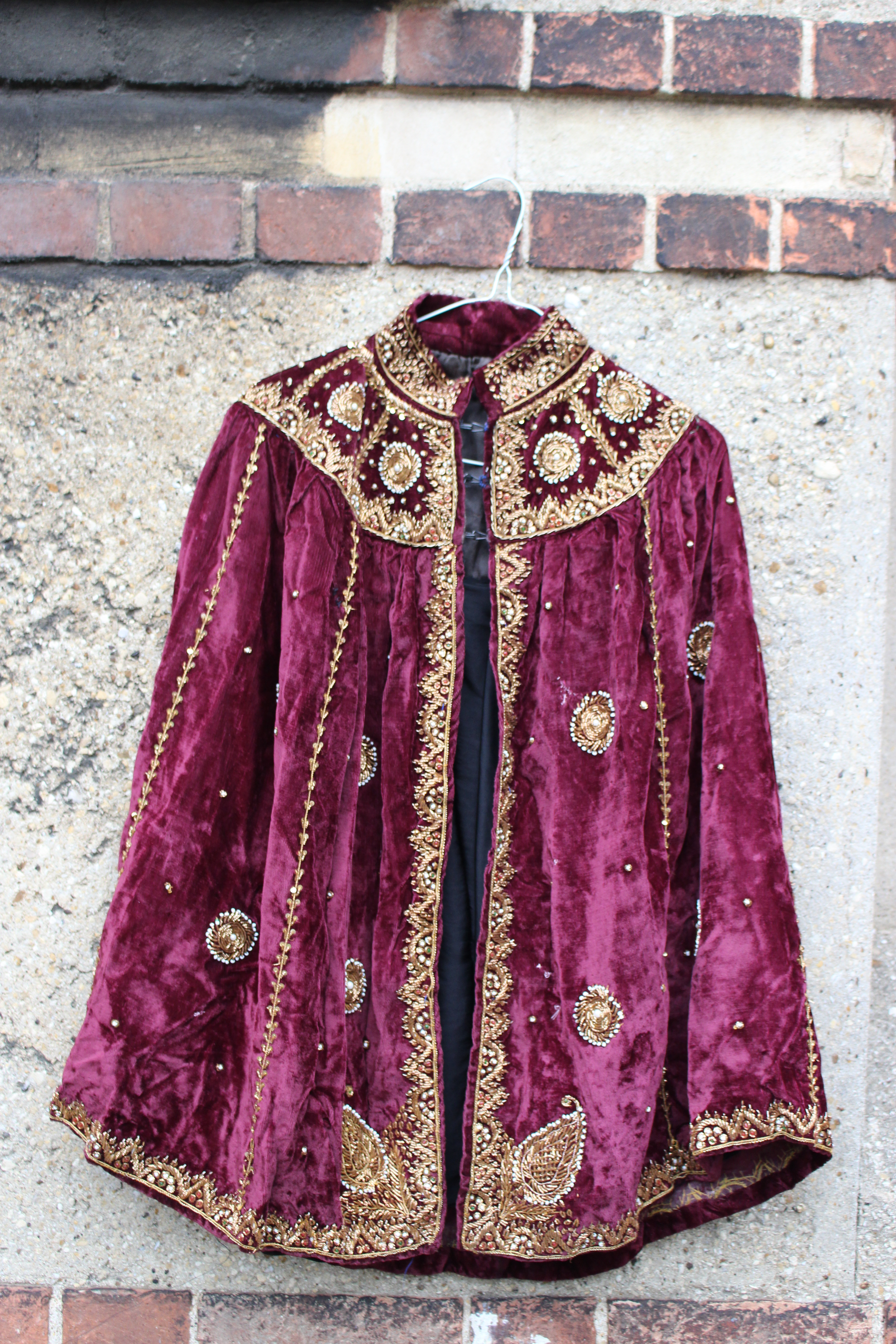 Maroon embroidered velvet turkish cape, from Unicorn, 5 Ship Street, Oxford