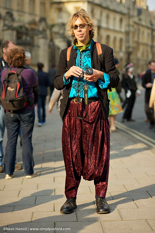 Turquoise Moroccan shirt and maroon velvet Moroccan qandrissi (worn during May Morning in Broad Street, Oxford)