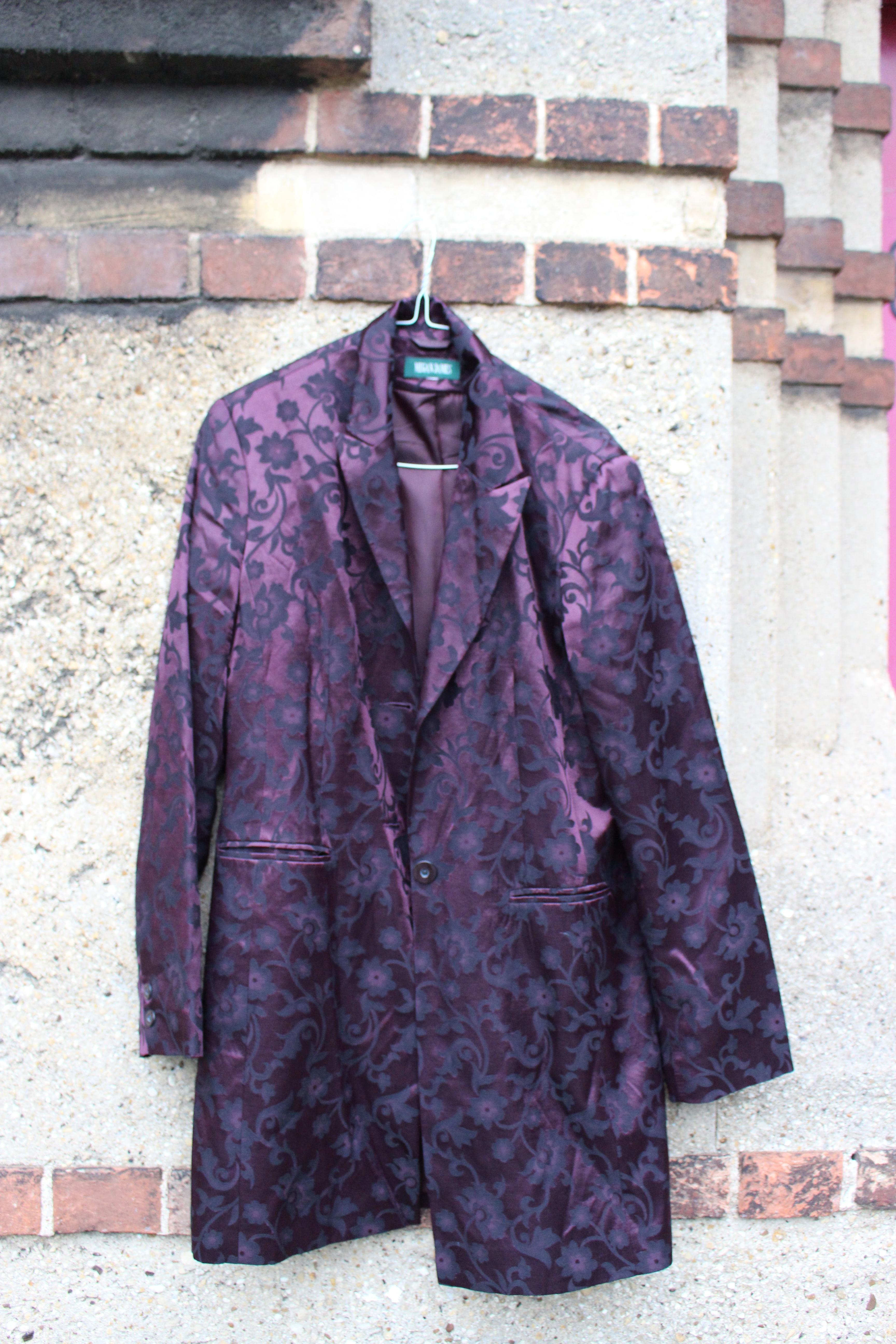 Megan James shiny maroon metallic flower-print jacket, from Unicorn, 5 Ship Street, Oxford