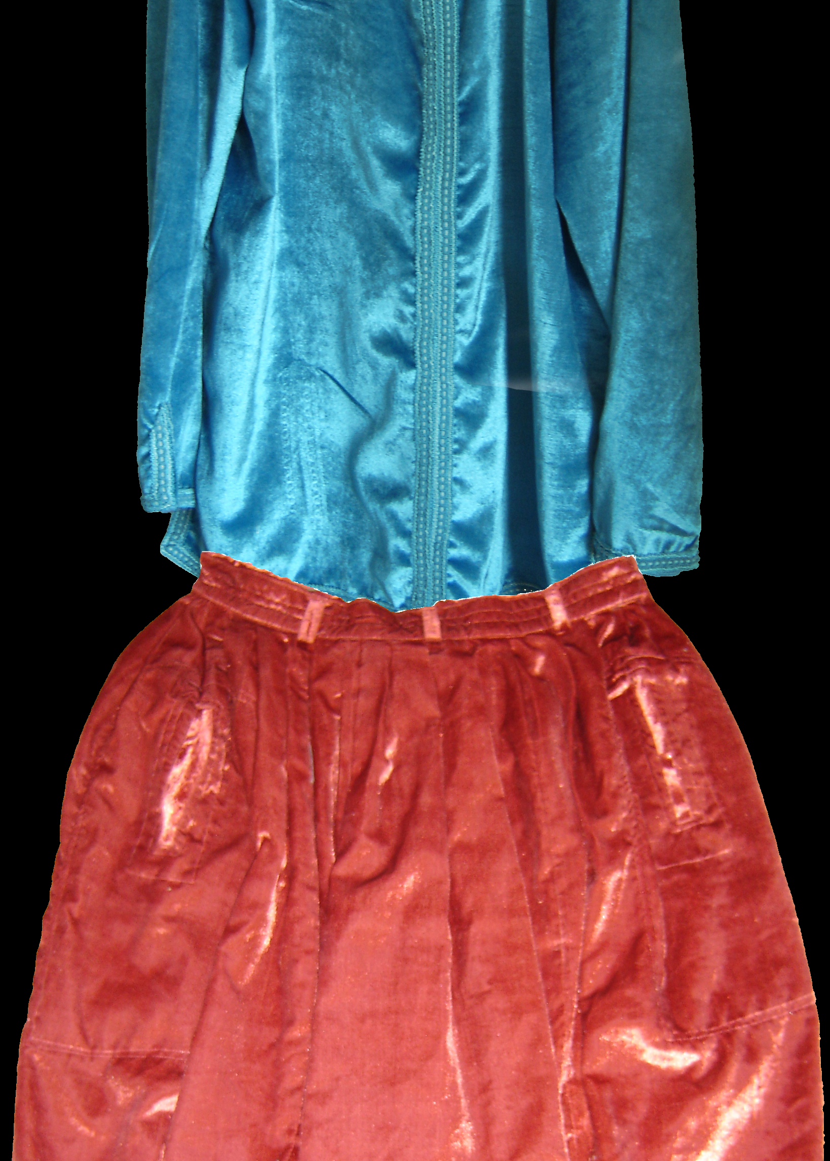 Orange velvet Moroccan qandrissi contrasted with ice-blue velvet Moroccan shirt