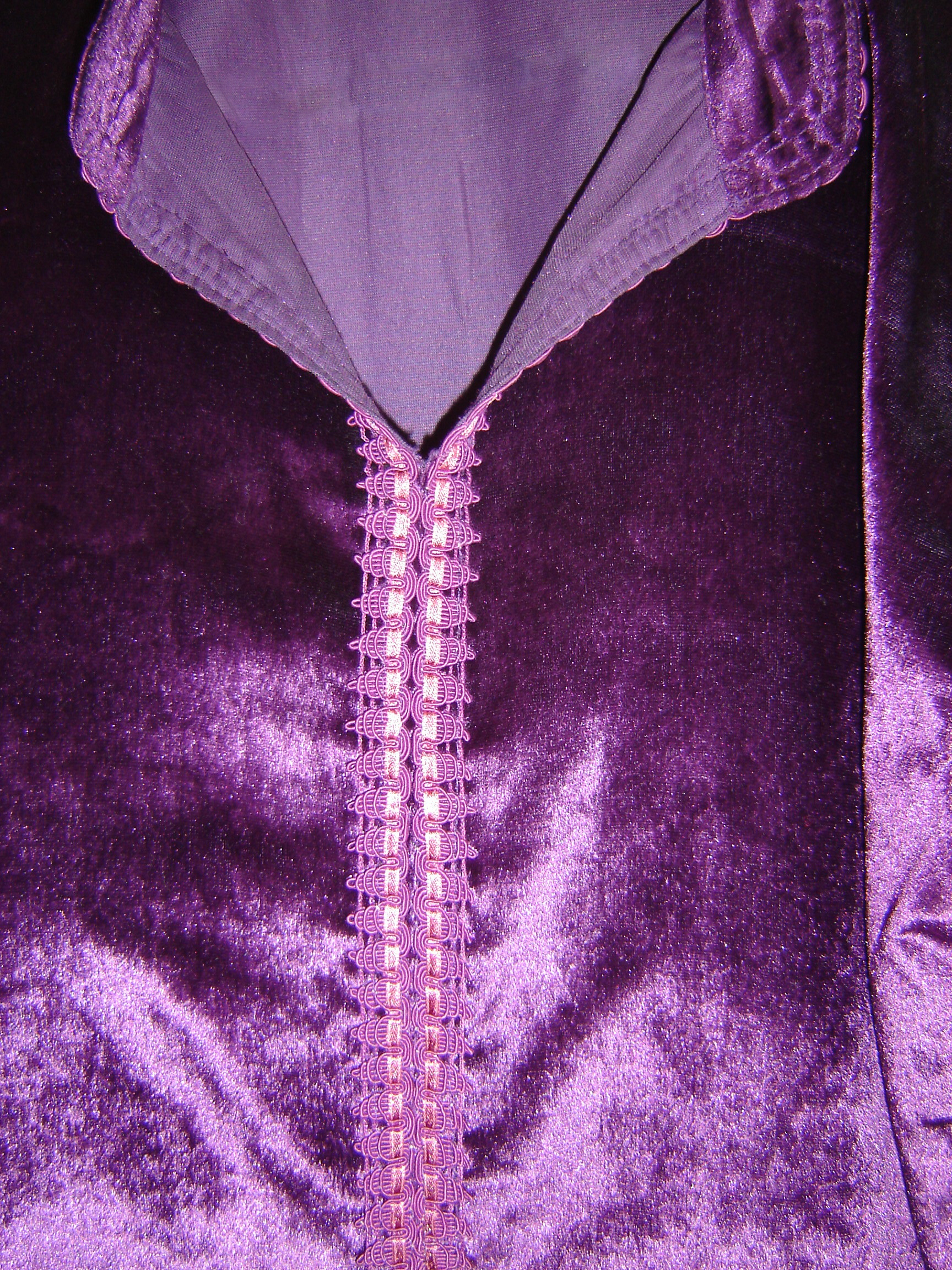 Plum velvet Moroccan shirt, showing embroidery down front