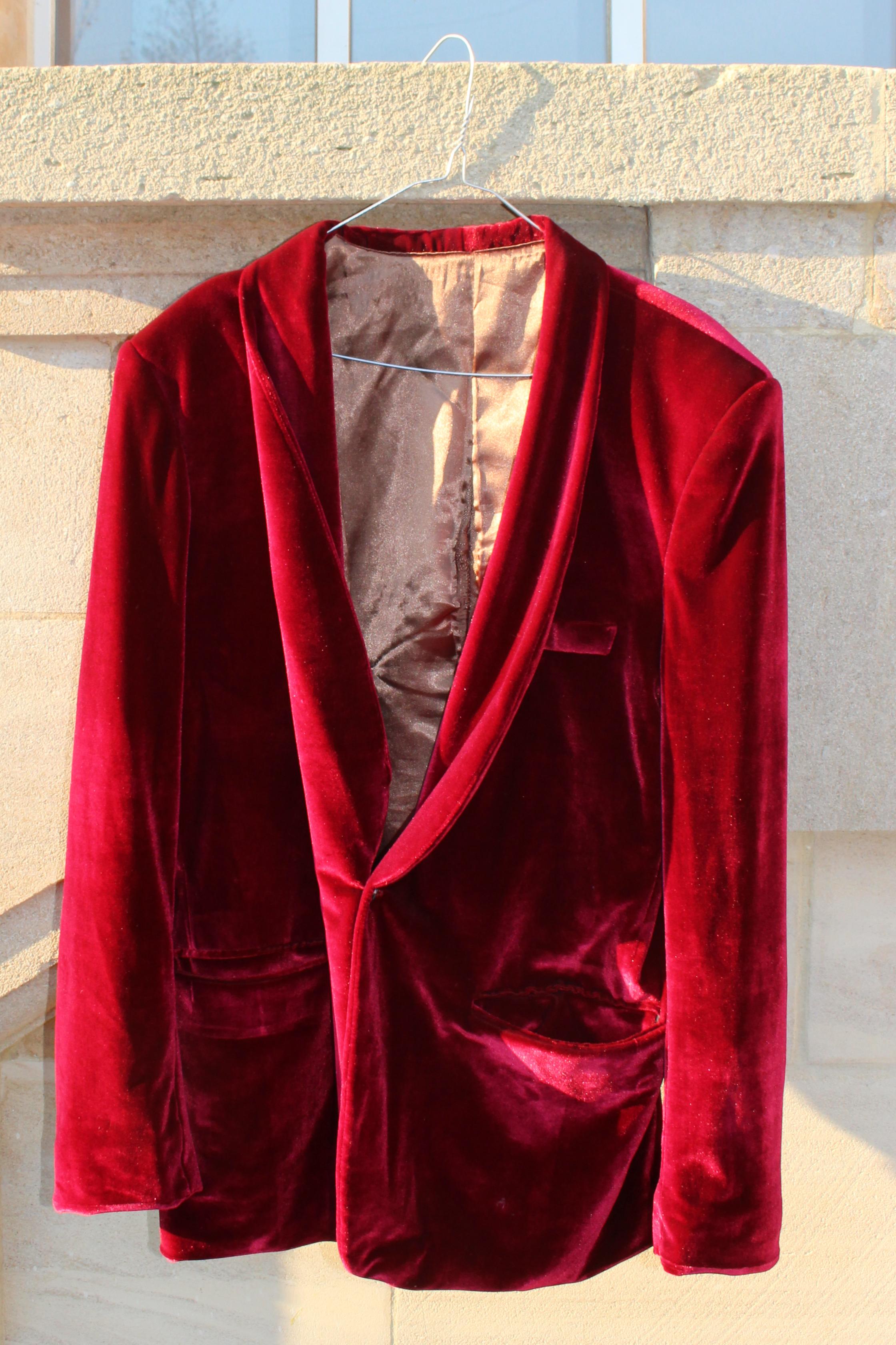 Ravi sehgal red velvet jacket, from Unicorn, 5 Ship Street, Oxford