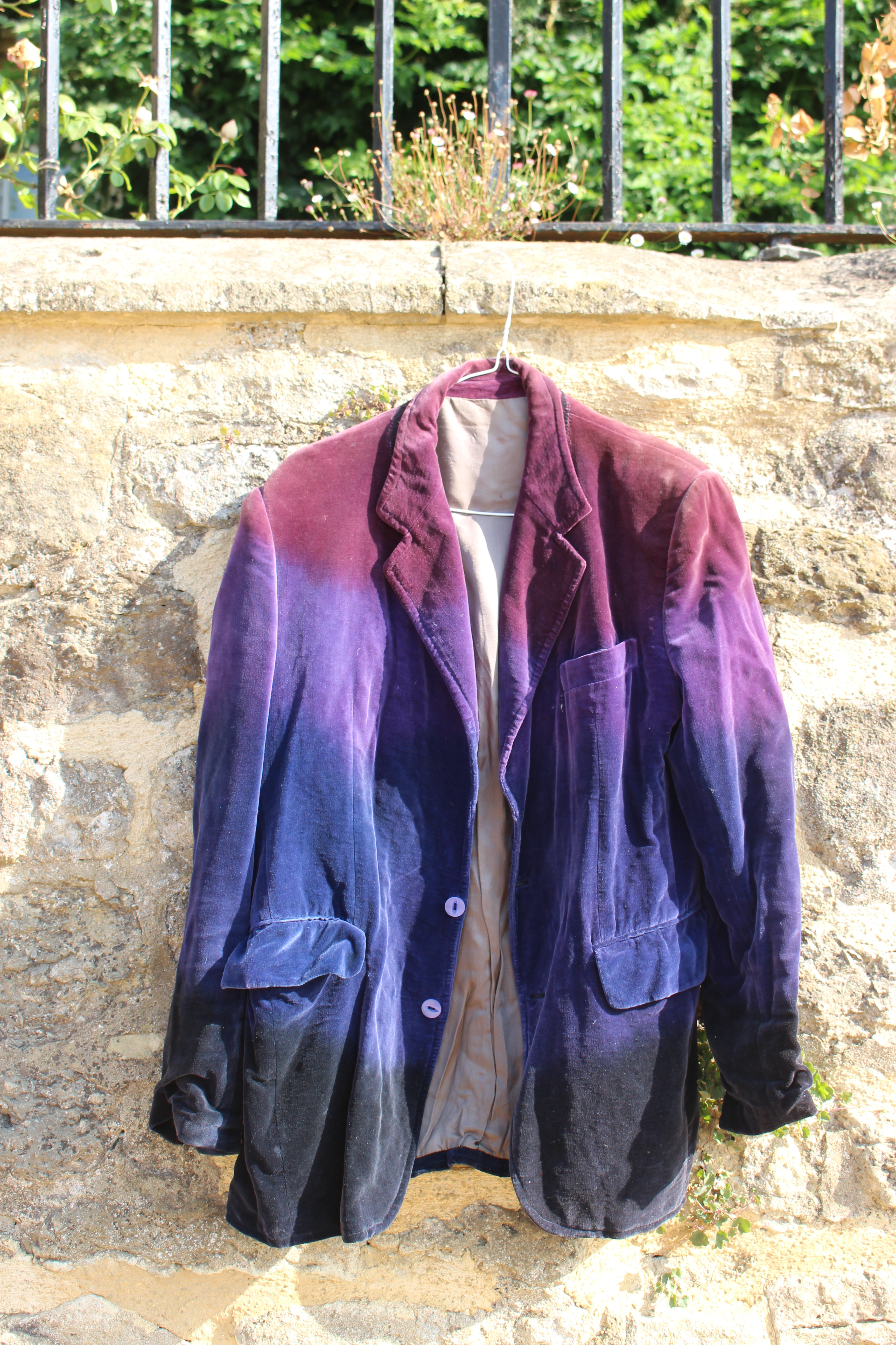Red, purple and black velvet jacket, re-dyed in Afghanistan