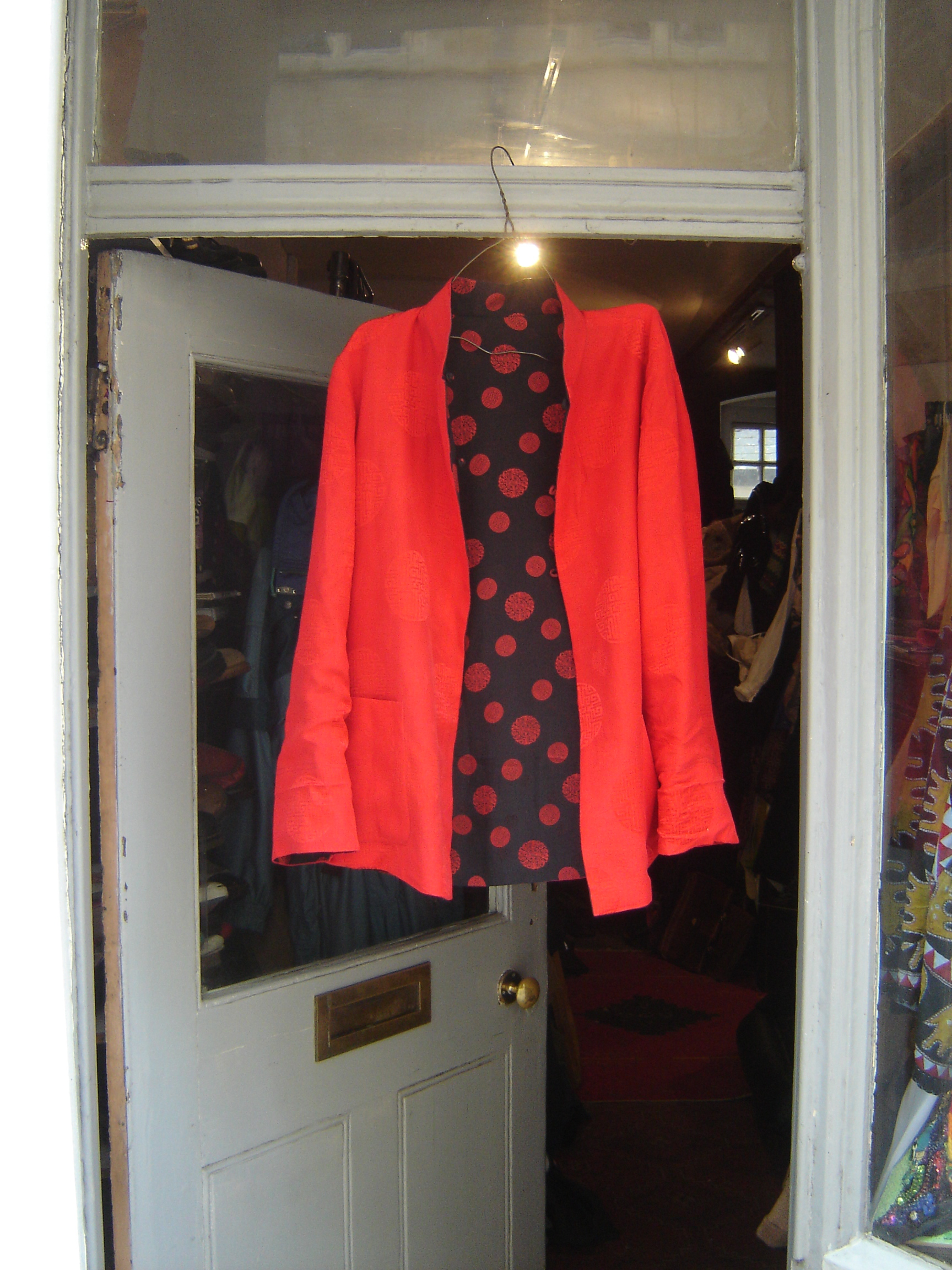 Red silk Chinese top