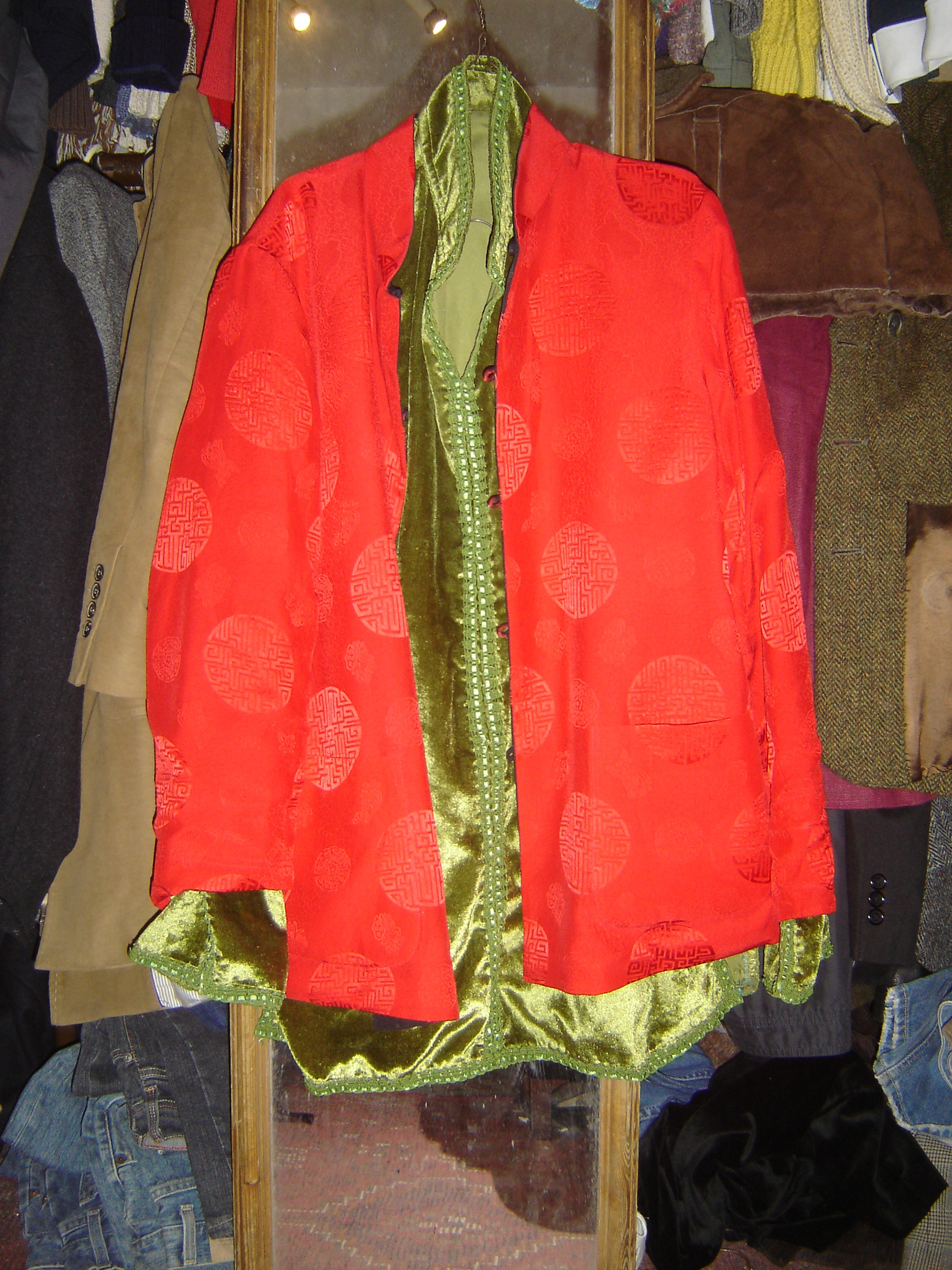 Red silk Chinese top and sage green velvet Moroccan shirt