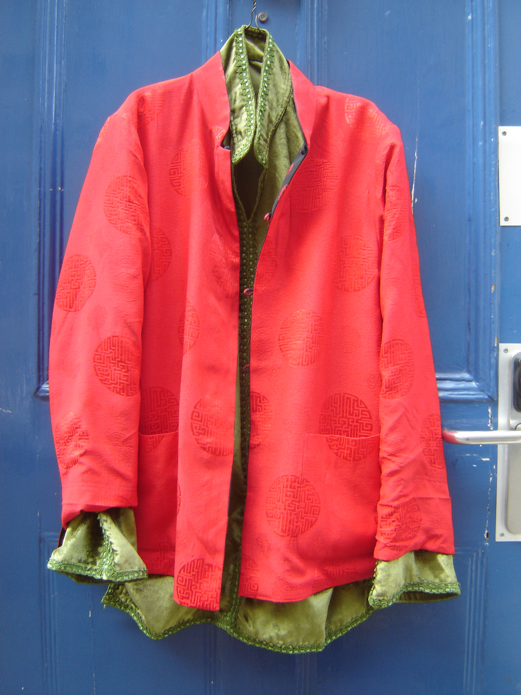 Red silk Chinese top and sage green velvet Moroccan shirt, Fez and Unicorn