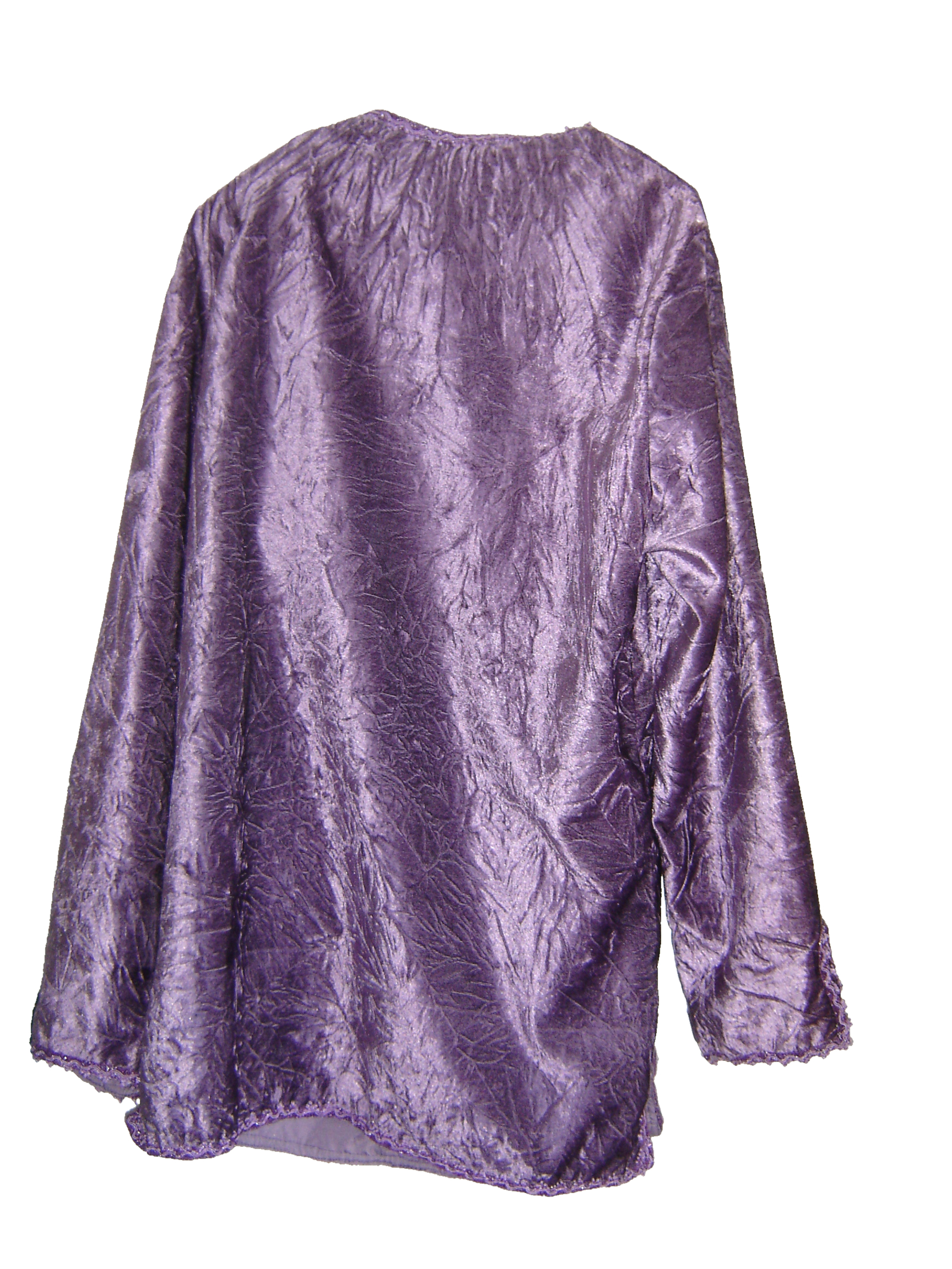 Rose-pink velvet Moroccan shirt (back view)