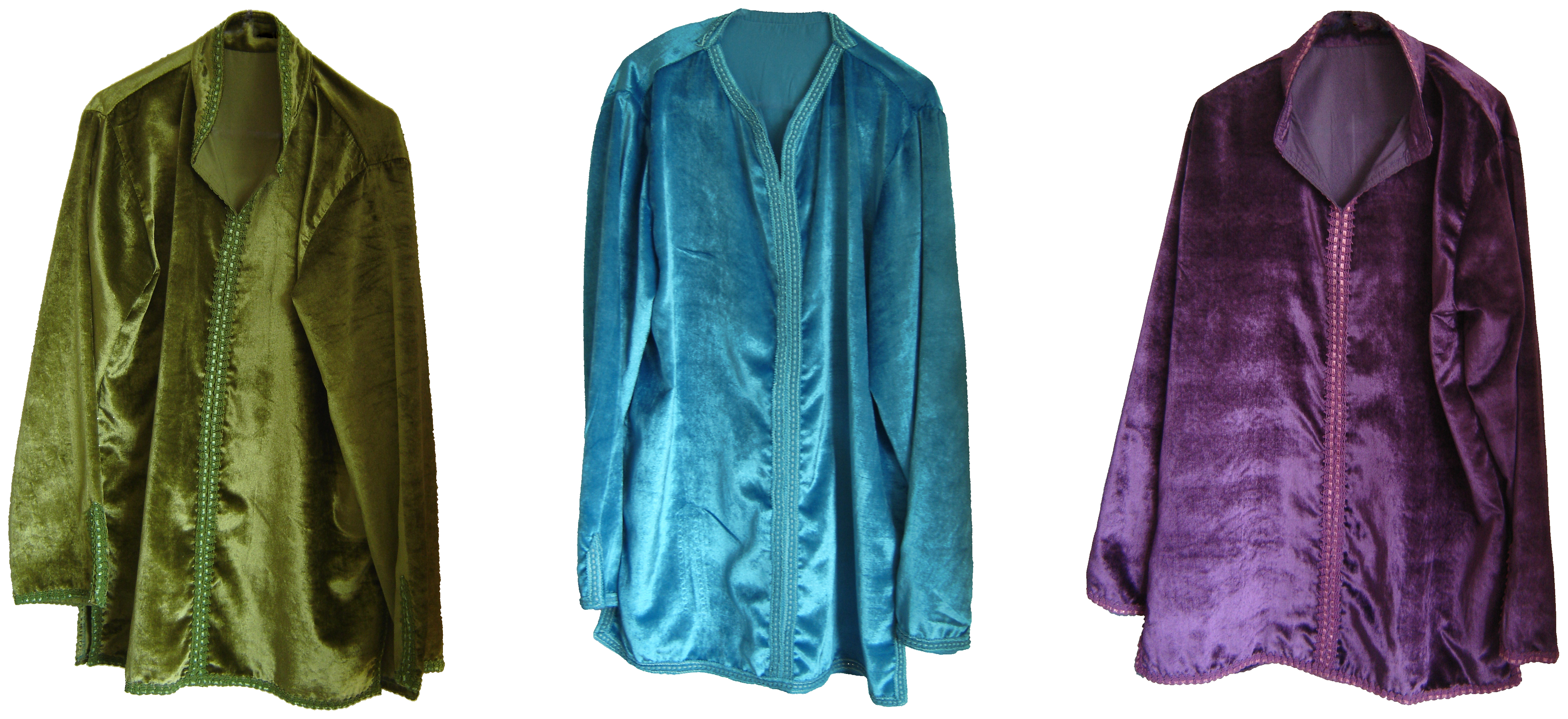 Sage green ice blue and plum velvet Moroccan shirts, from Fez, 71 Golborne Road, London