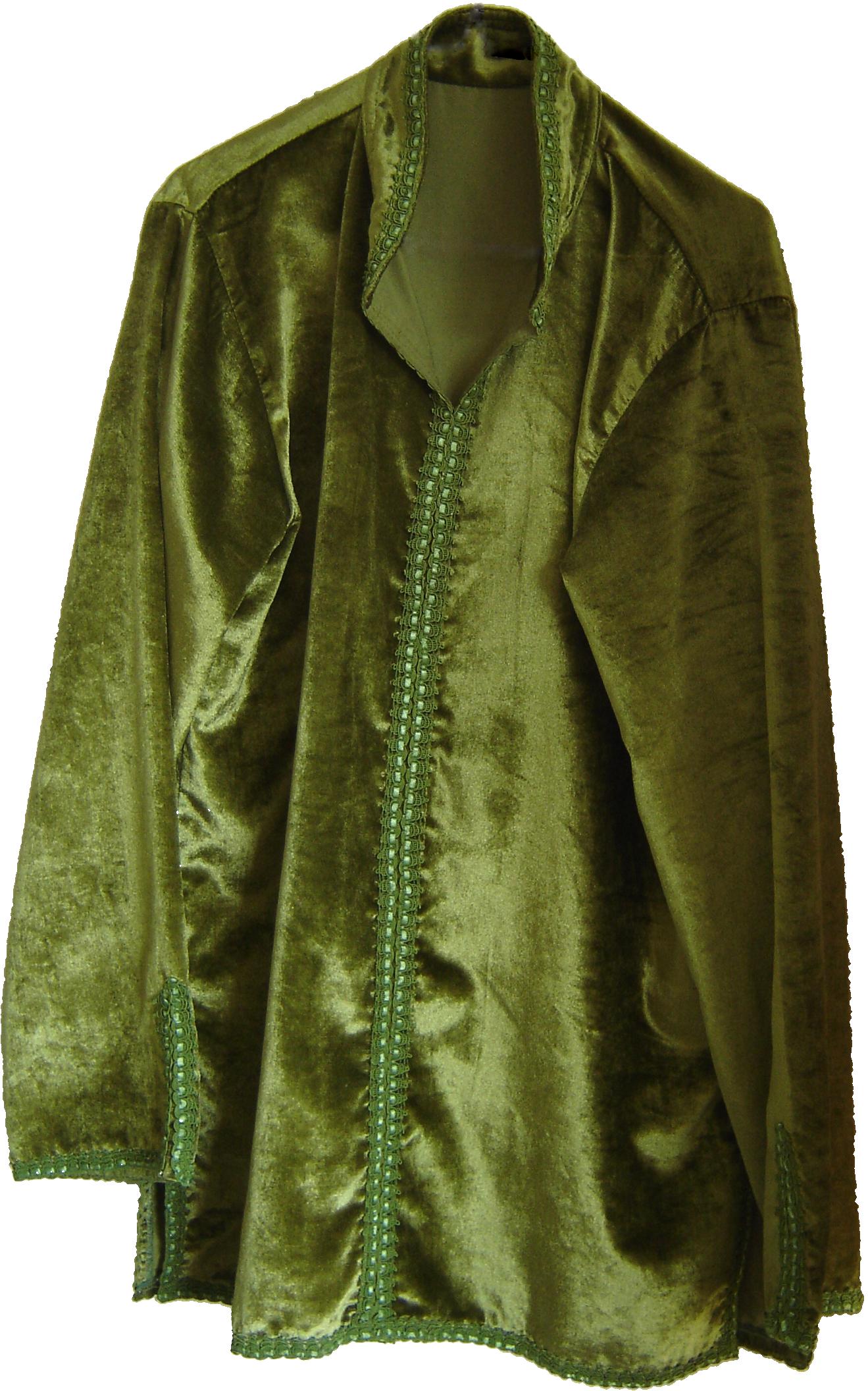 Sage green velvet Moroccan shirt, from Fez, 71 Golborne Road, London