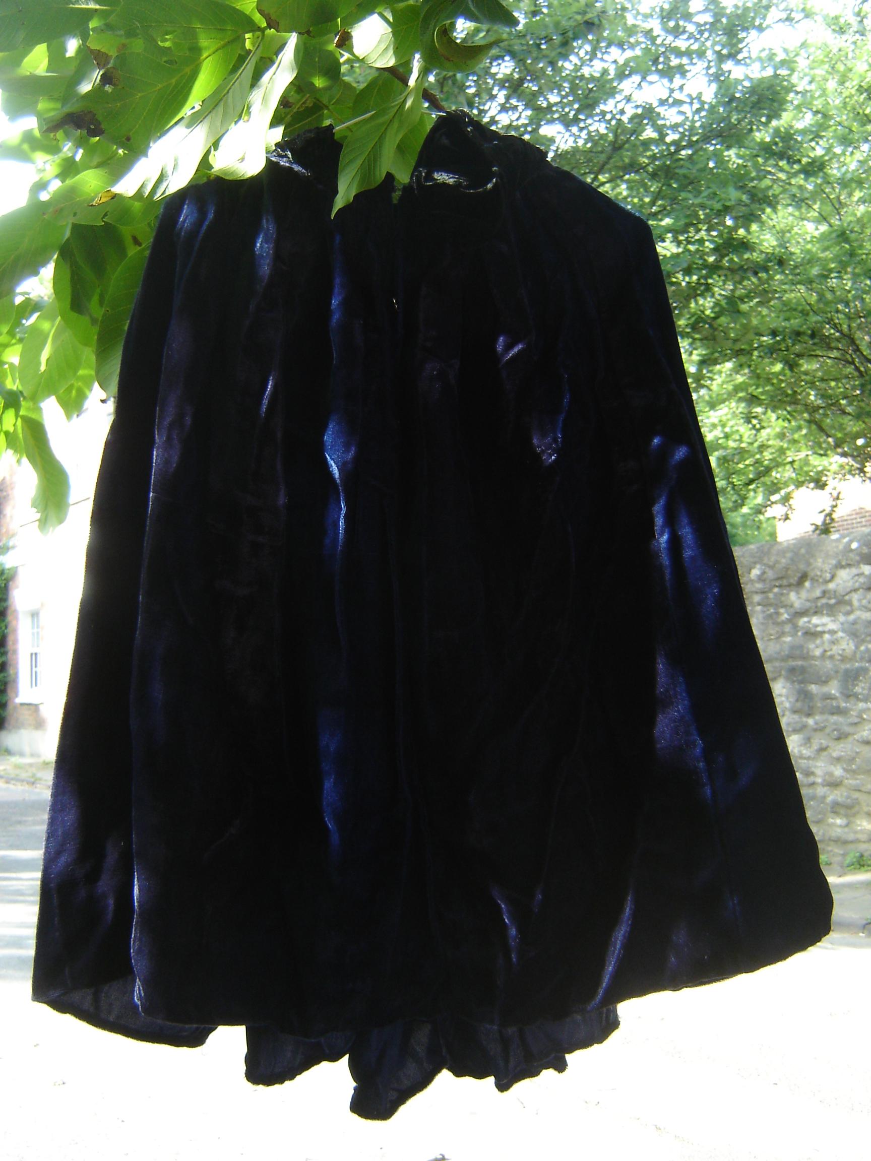 Short blue velvet cape, from Unicorn, 5 Ship Street, Oxford