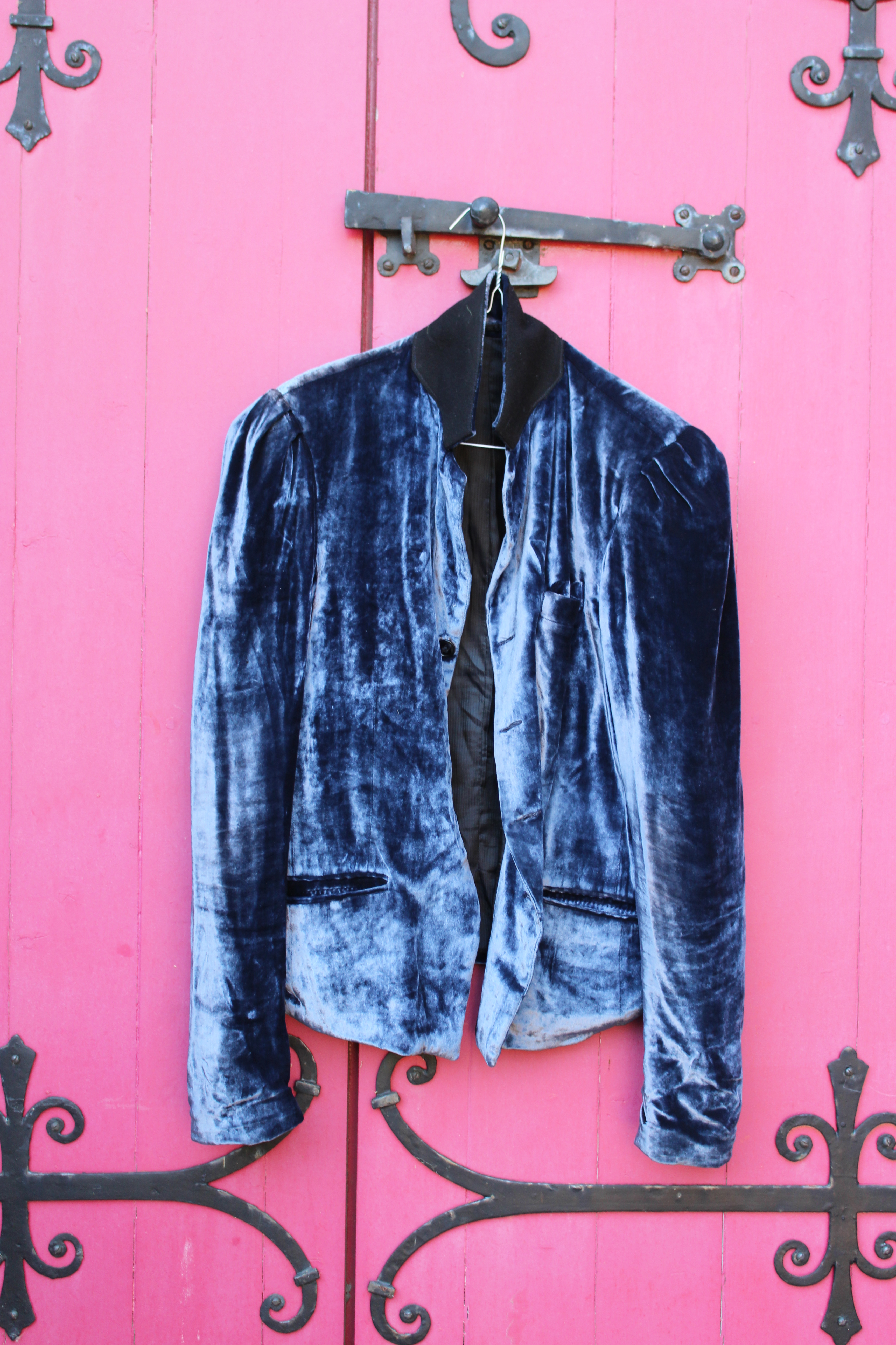 Silver silk-velvet jacket, made in Morocco