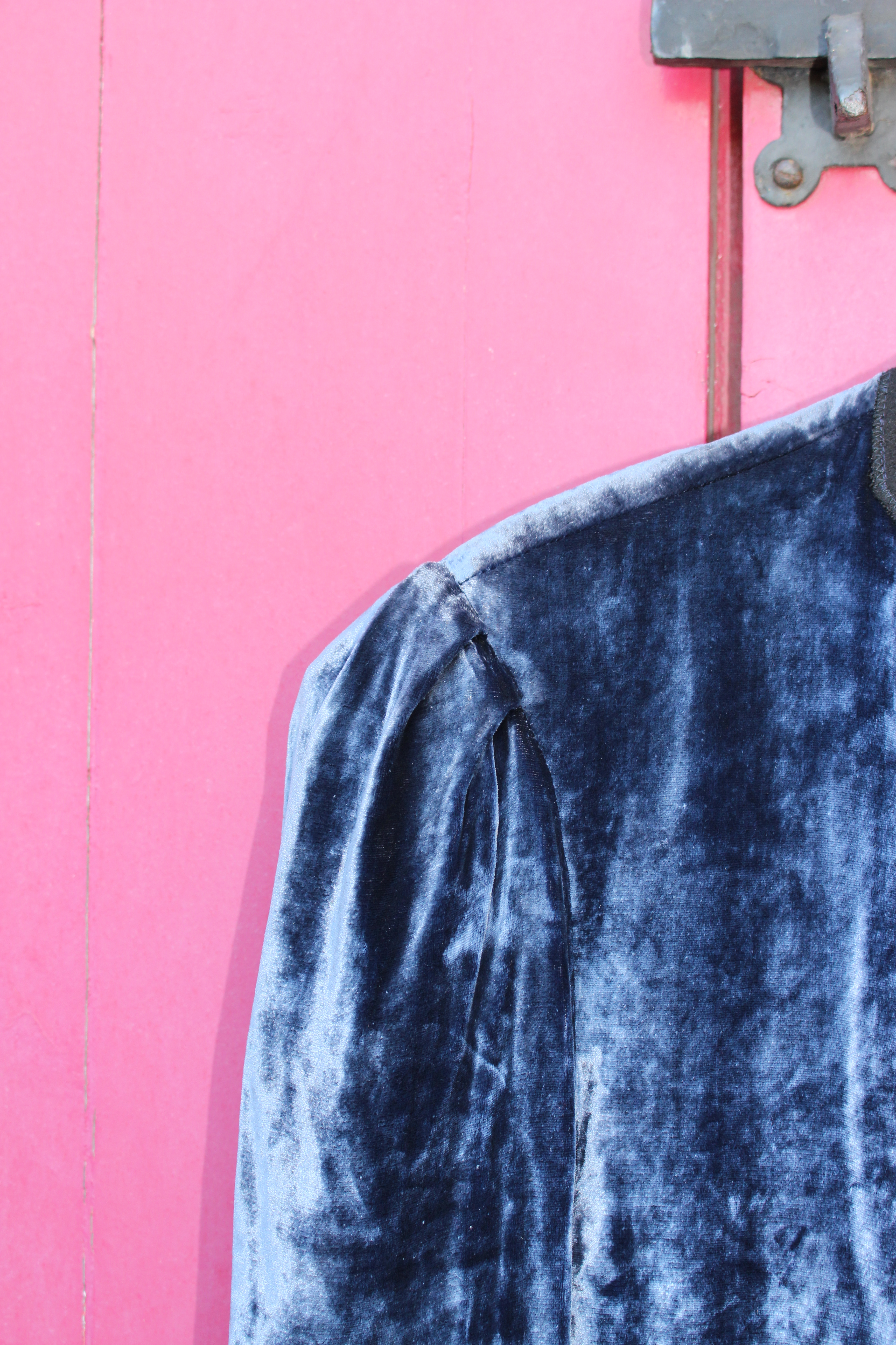 Silver silk-velvet jacket, made in Morocco, showing sleeve head