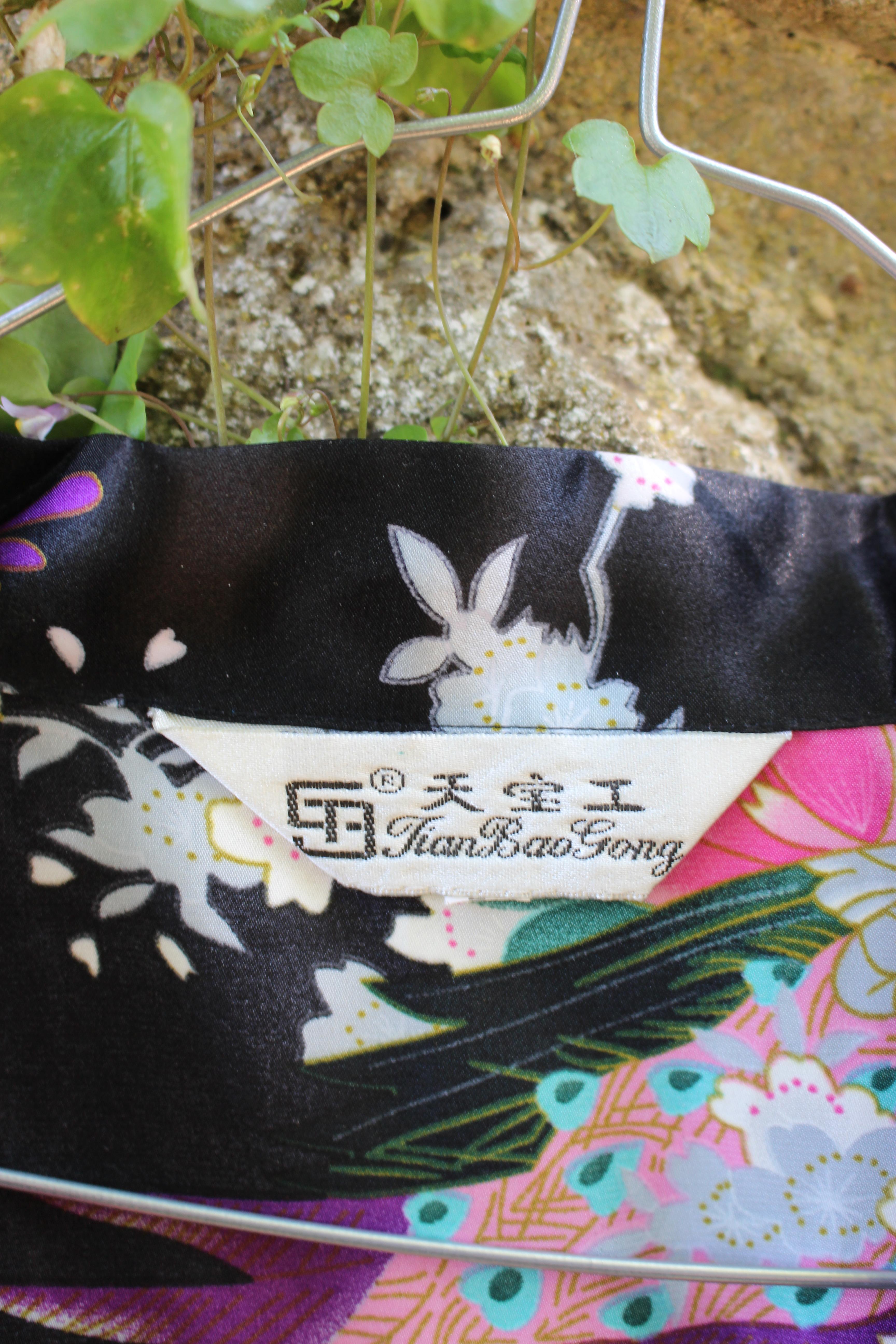 TianBaoGong peacock kimono, showing label
