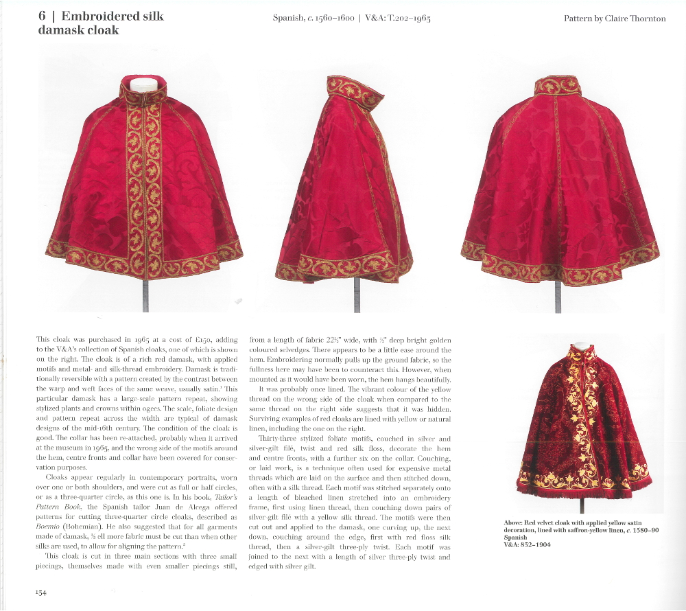 Page 134 of the book, showing three photos of the red Spanish cloak, and one