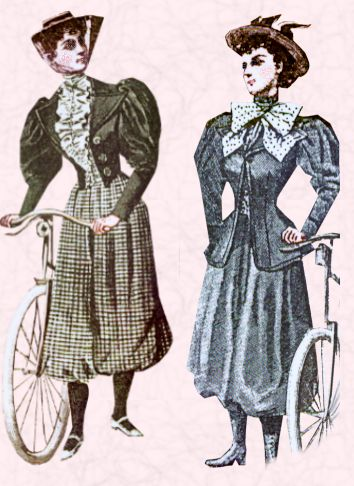 Two cyclists wearing bloomers and cropped jackets with leg-of-mutton sleeves