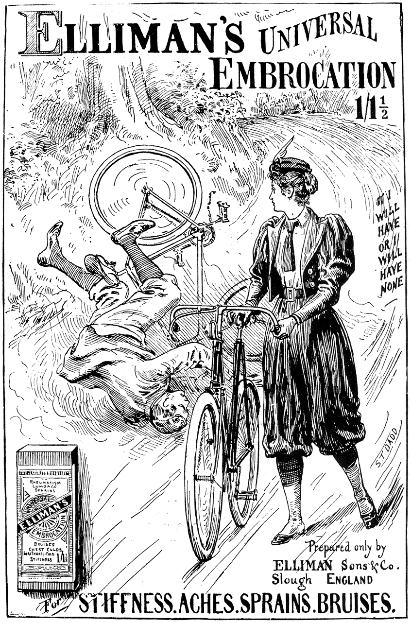 Woman cyclist wearing bloomers, hat with feather, and cropped jacket with leg-of-mutton sleeves