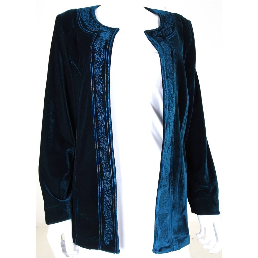 Blue velvet embroidered jacket, made by Style By EWM