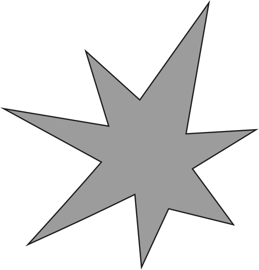 A shape that looks like a star but irregular. It has seven pointy bits sticking out.