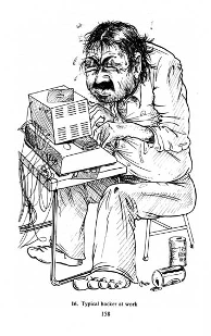 Cartoon of typical hacker at work: a sweaty, fat, unshaven programmer hunched over his computer, shirt undone and clothes covered in food stains.