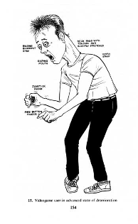 Cartoon of typical videogame freak: a young man with bulging bloodshot eyes, neck rigid with tension, gaping mouth, permanently-clenched joystick hand, and vibrating fire-button finger.
