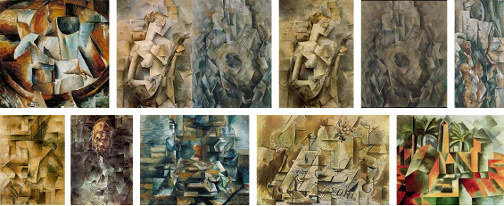 A selection of analytical cubist paintings