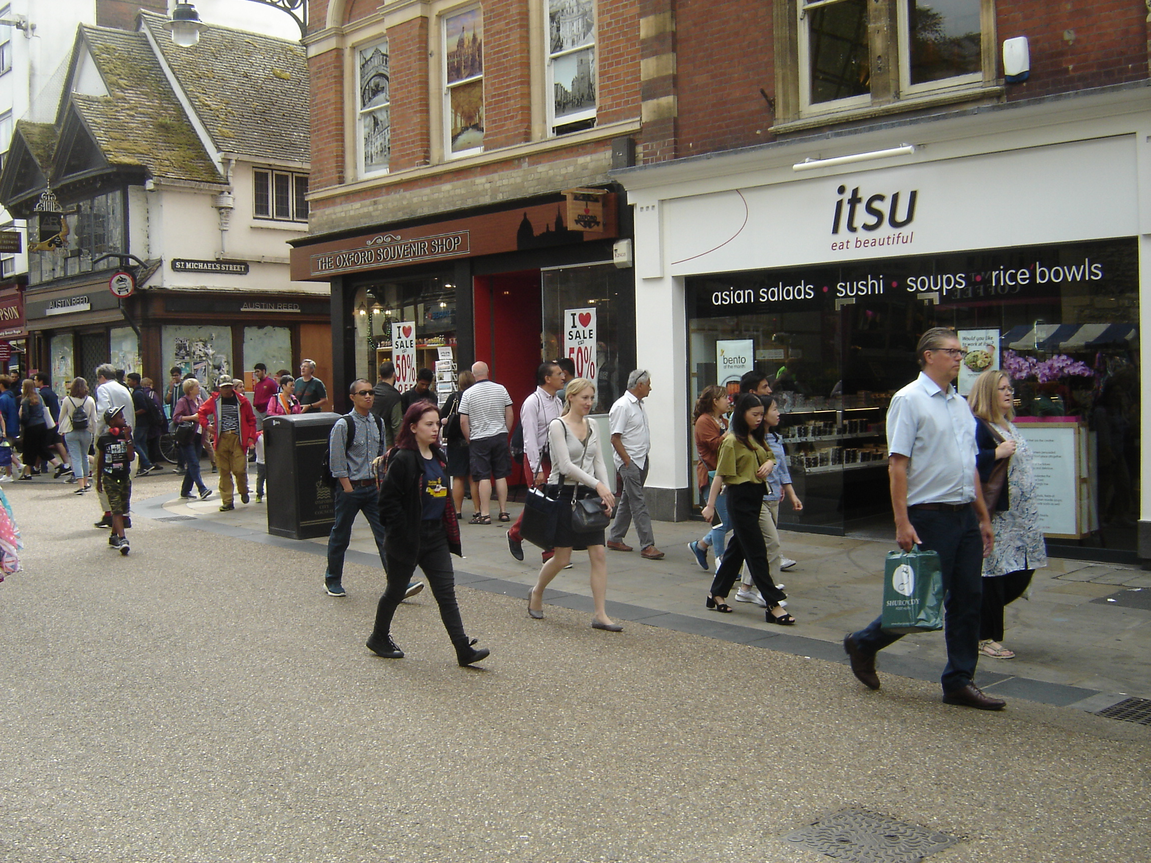 Drab people in Cornmarket, Oxford