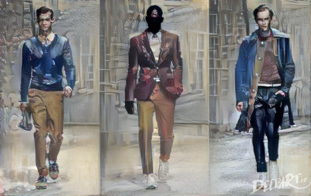 Salvatore Ferragamo's Milan 2013 spring/summer men's collections, decoloured to approximate the colours of a group of drab tourists in Ship Street Oxford.