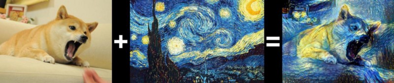 Photo of dog, followed by van Gogh's 'The Starry Night', followed by dog photo rendered in the same style