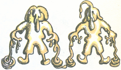 Two small boys standing covered in dough. It is dripping in coils to the ground from their hands, and teardrop-shaped pieces are dripping from their hair, noses, and fingers. The surface of the dough is smooth and gently curved.