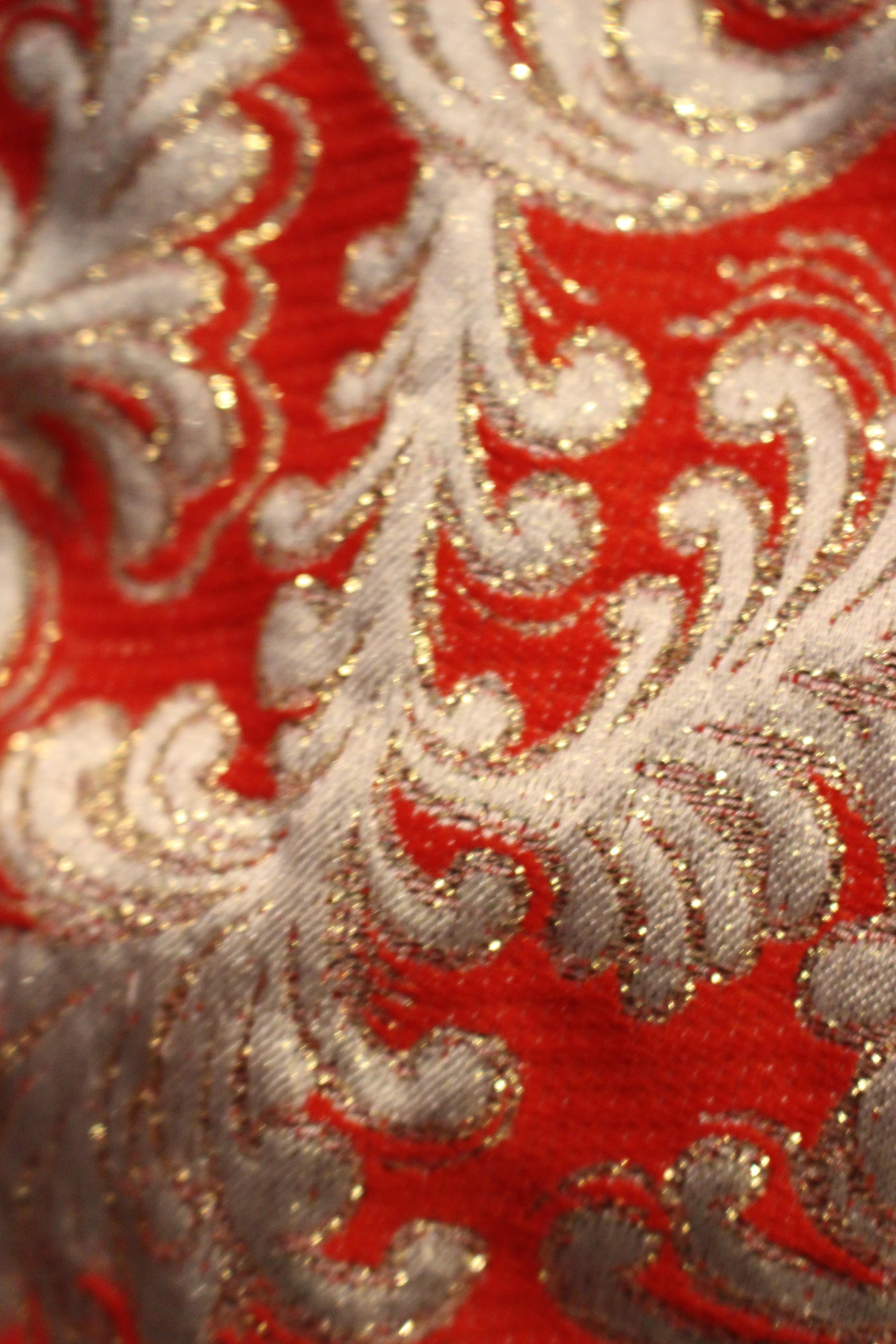 Gilttery embroidered orange-red velvet dress, in Unicorn, 5 Ship Street, Oxford