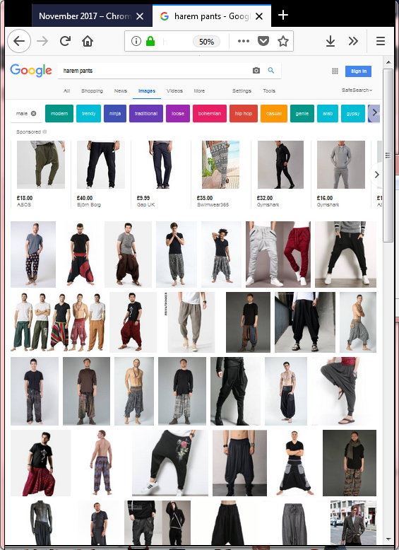 Google search for 'harem pants, male'