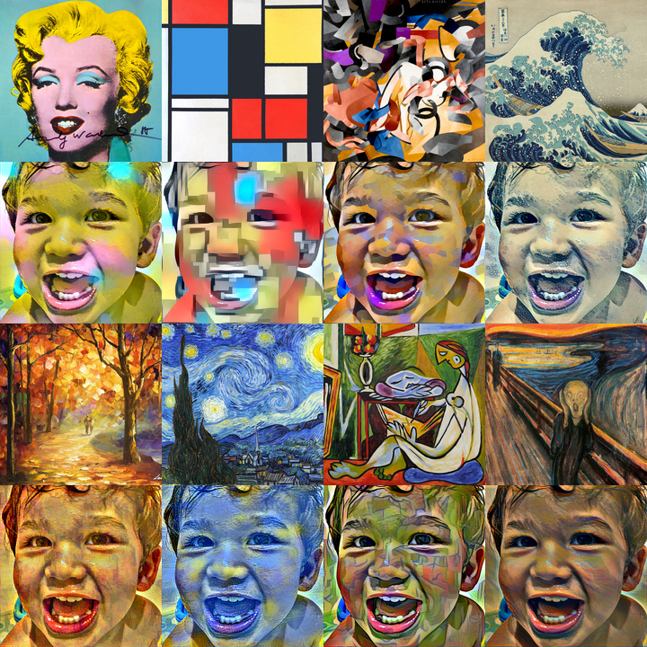 Various artworks, each followed by photo of child rendered in the same style