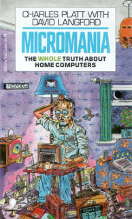 Cartoon of a different hacker, for the cover of Micromania. Gaunt like the hardware freak, he is sitting in a moonlit room at 2 in the morning. His decor has computer motifs such as transistors and space invaders. His eyeballs are shaped like TV screens with small irises on the screens.