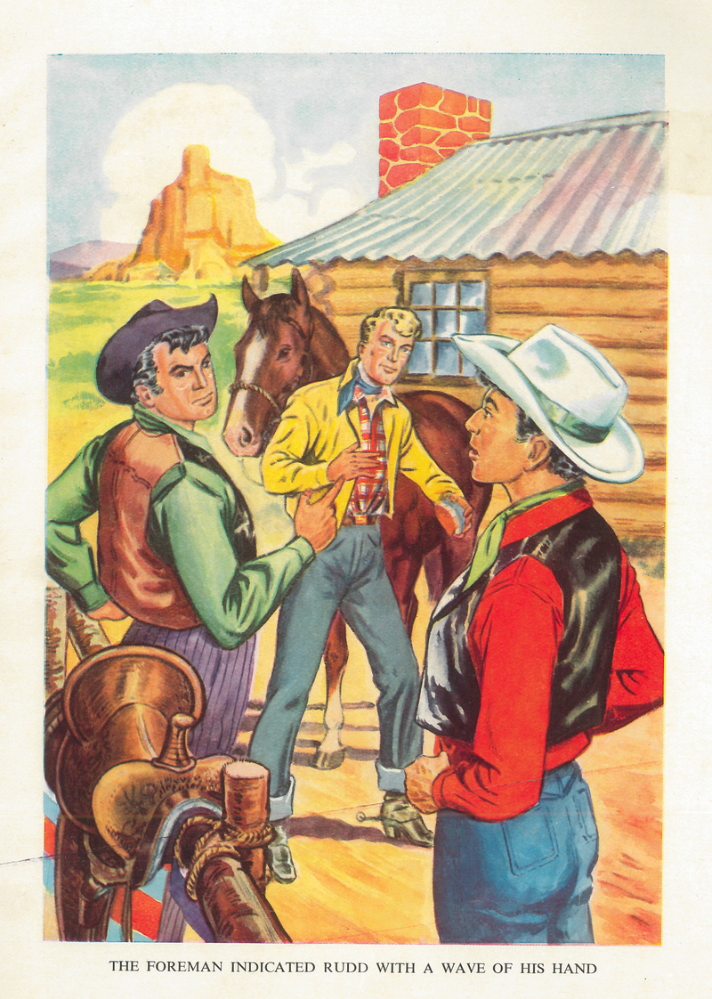 Illustration from the Monster Book for Boys, possibly 1954. Shows three cowboys