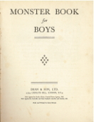 Title page of the Monster Book for Boys, possibly 1954