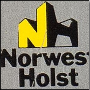 The logo of Norwest Holst. It's a capital 'N' joined to a capital 'H'. Both are standing on the ground. They join at centre-front, with the 'N' coming diagonally from back left and the 'H' going diagonally to back right. So they form the front two faces of a cube. The inner sides of the verticals of the 'H' are slanted so that they look like girders. Both letters are squat, blocky, and powerful-looking.