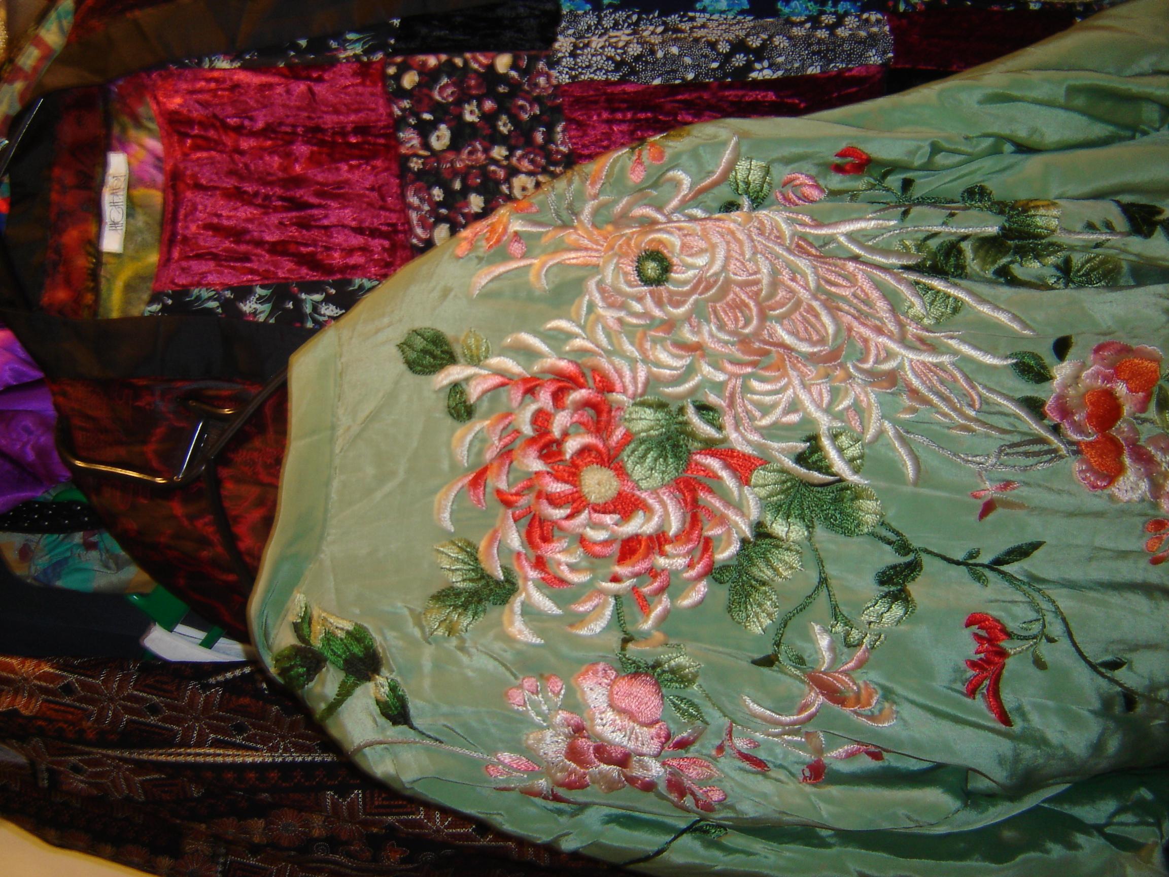 Pale green embroidered kimono, in Unicorn, 5 Ship Street, Oxford