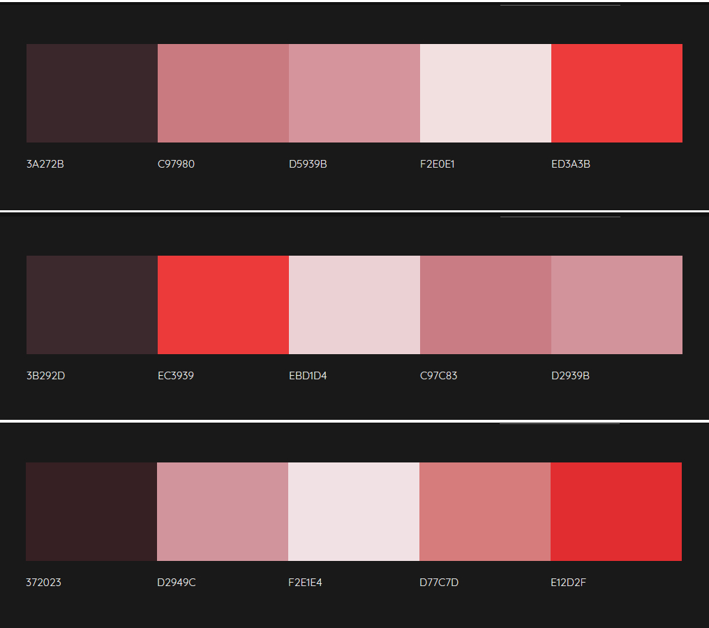 Three palettes generated by Colormind for my red silk Chinese top. Each has an intense red, two pale brick-reddish-pinks, a very pale whitish red, and a dark maroony-aubergine.