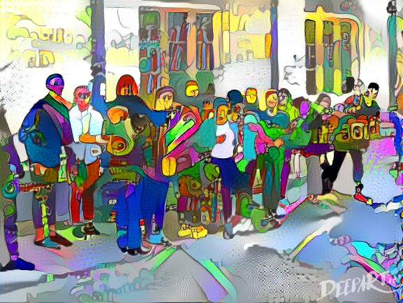 Group of drab tourists in Ship Street Oxford, repainted in a psychedelic style..